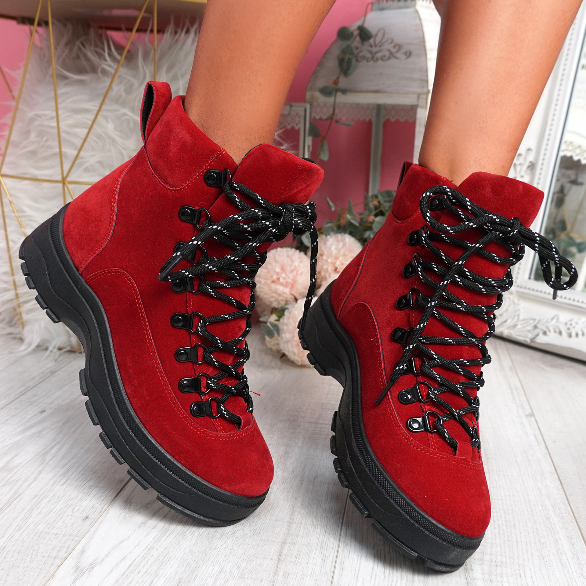 Poppa Red Ankle Boots