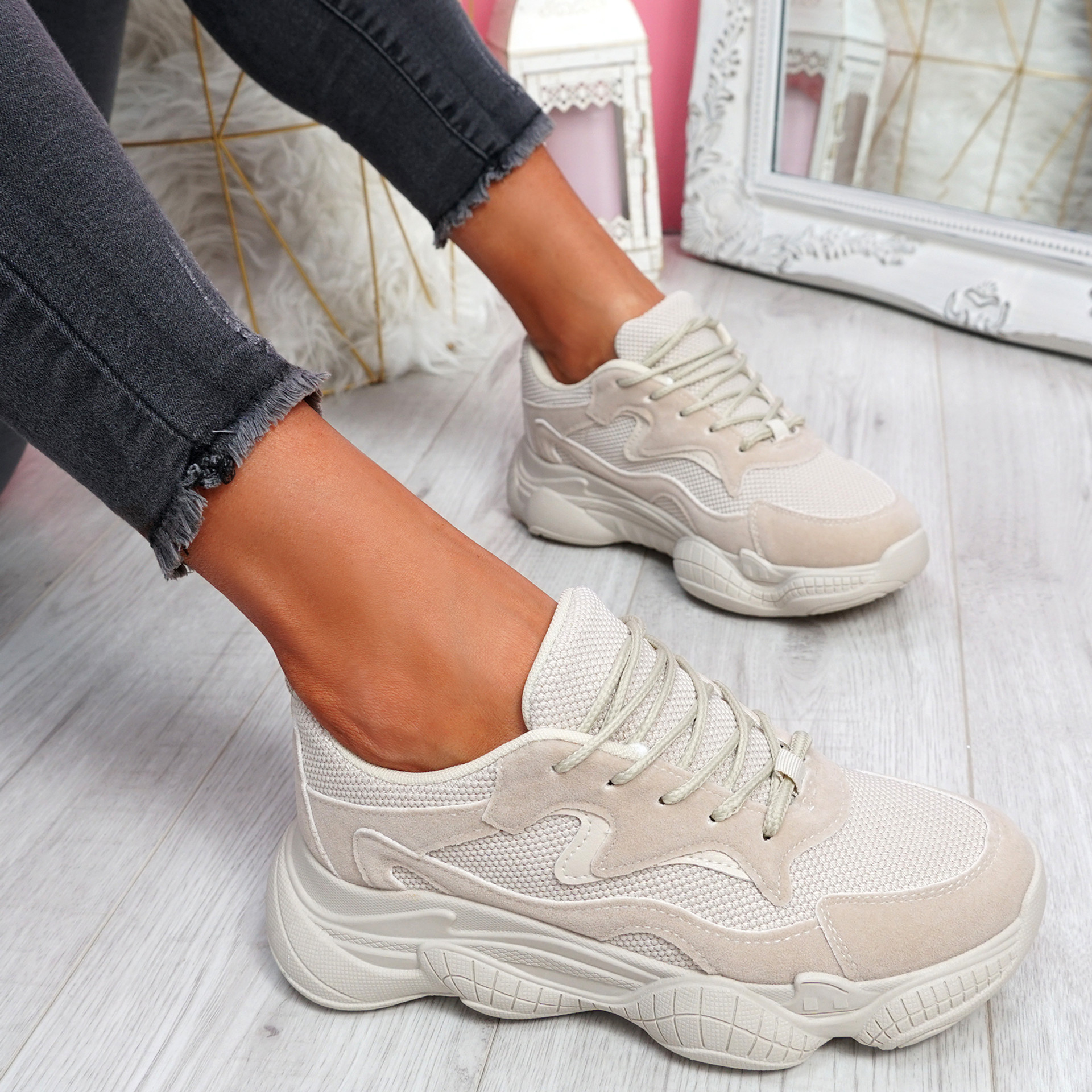 Lilla Beige Sand Lace Up Chunky Trainers