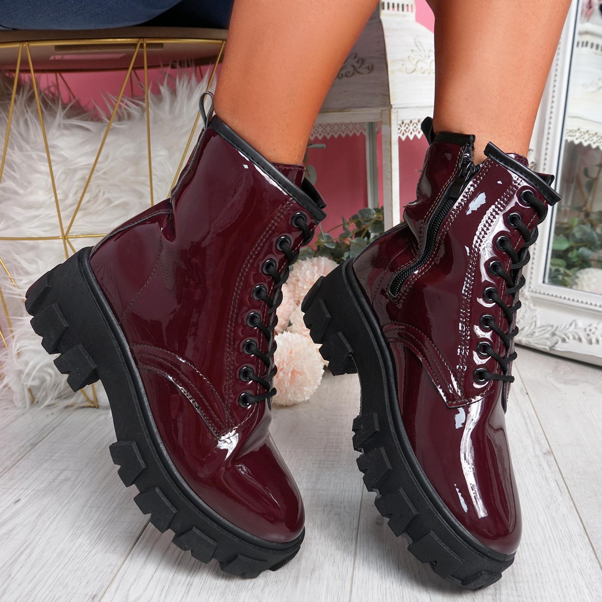 Fova Wine Zip Ankle Boots