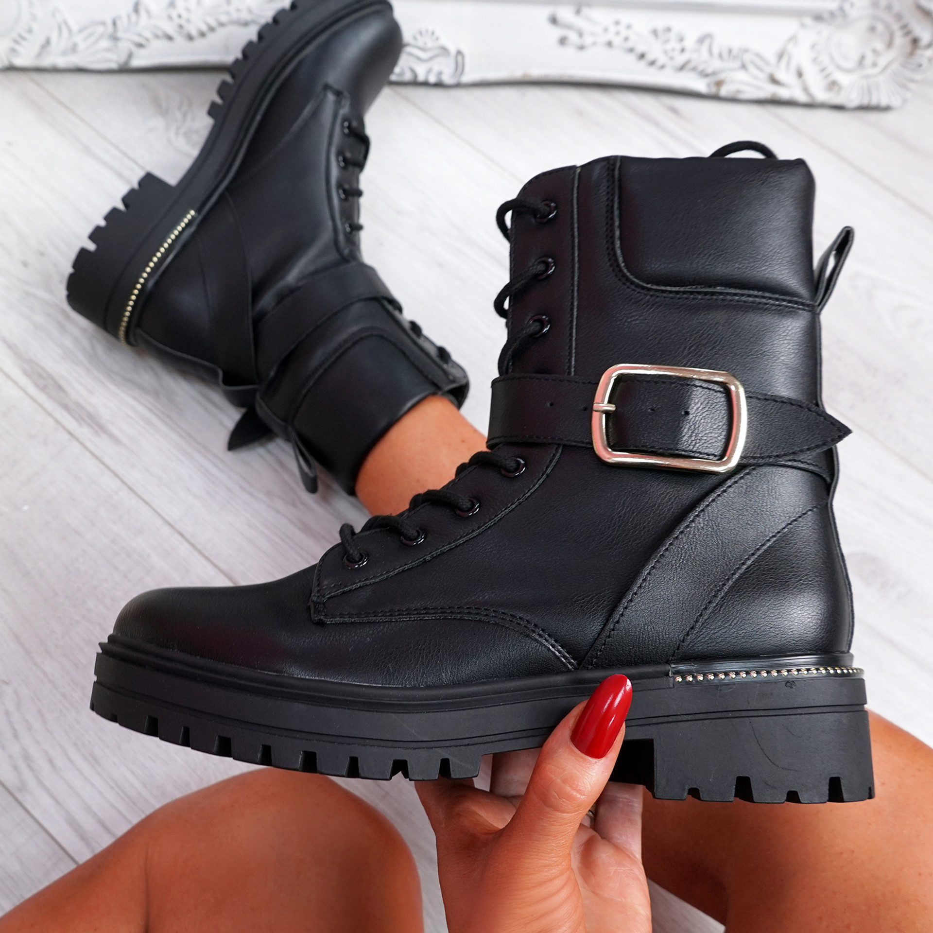 Darcey Black Buckle Ankle Boots