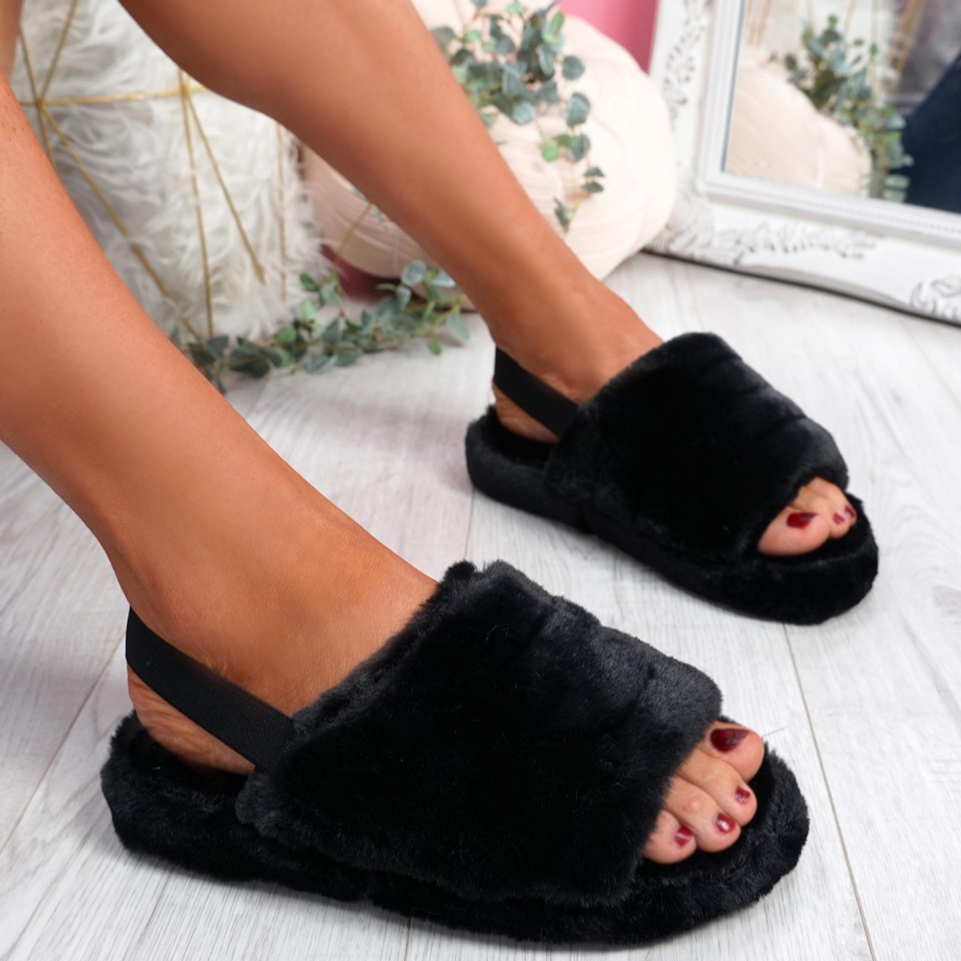 Ponna Black Fluffy Sandals