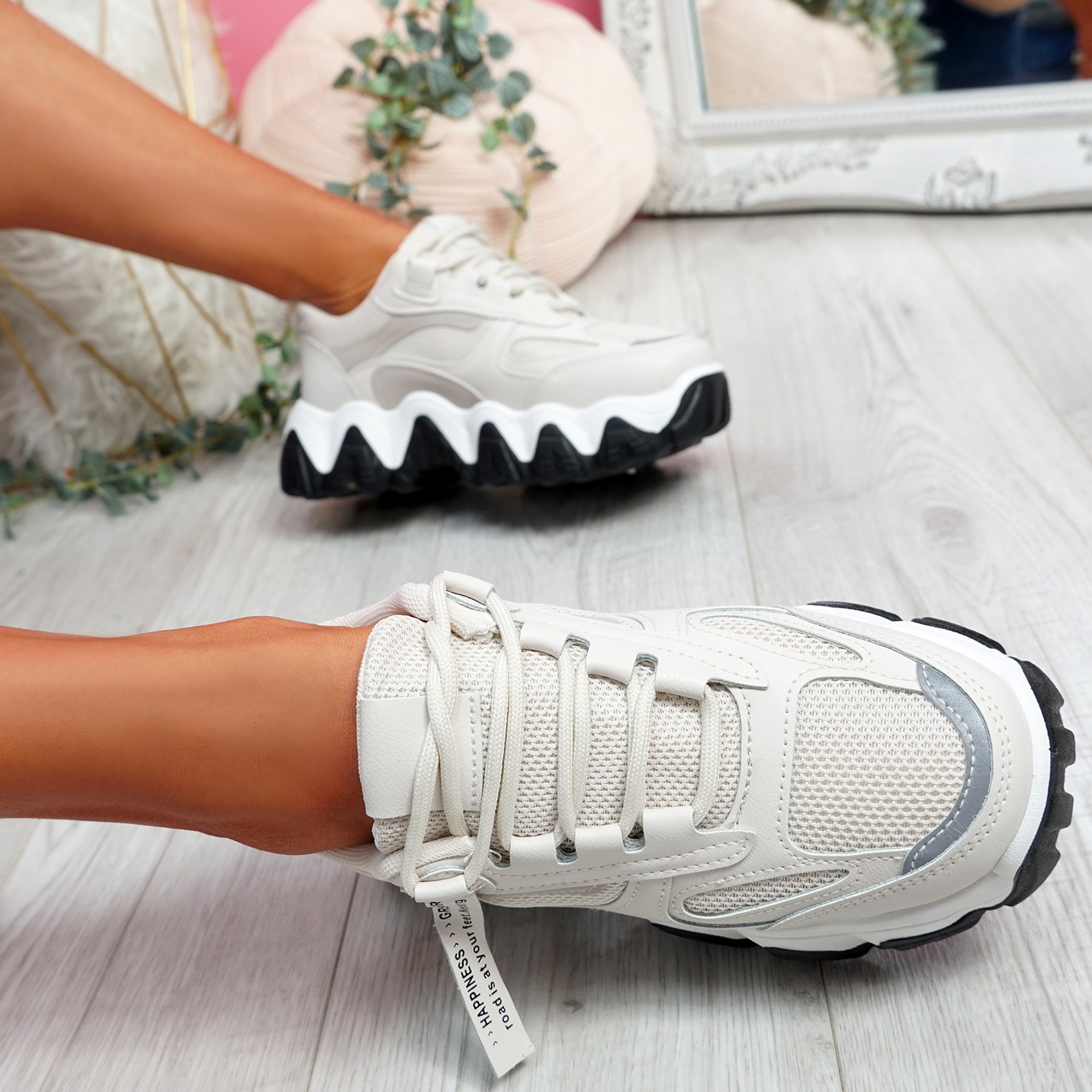 Buvy Beige Chunky Sneakers