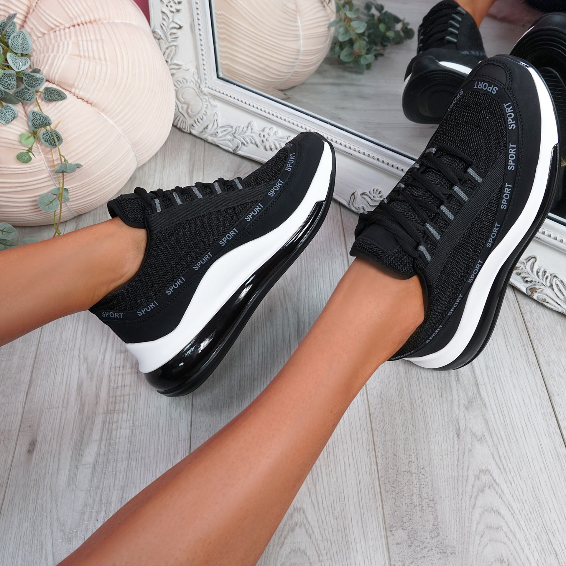 Jimma Black Lace Up Trainers