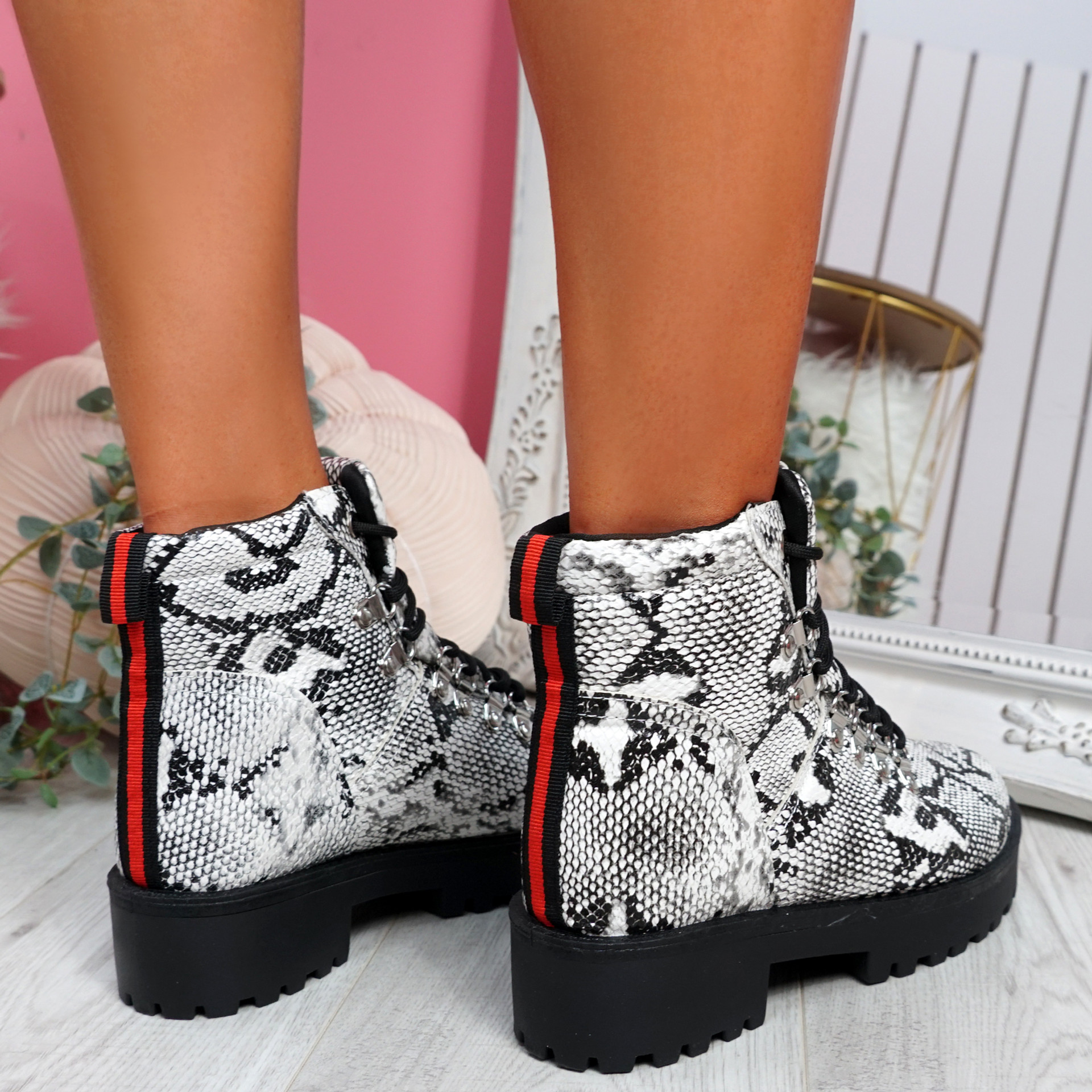 Hidda Snake Lace Up Ankle Boots