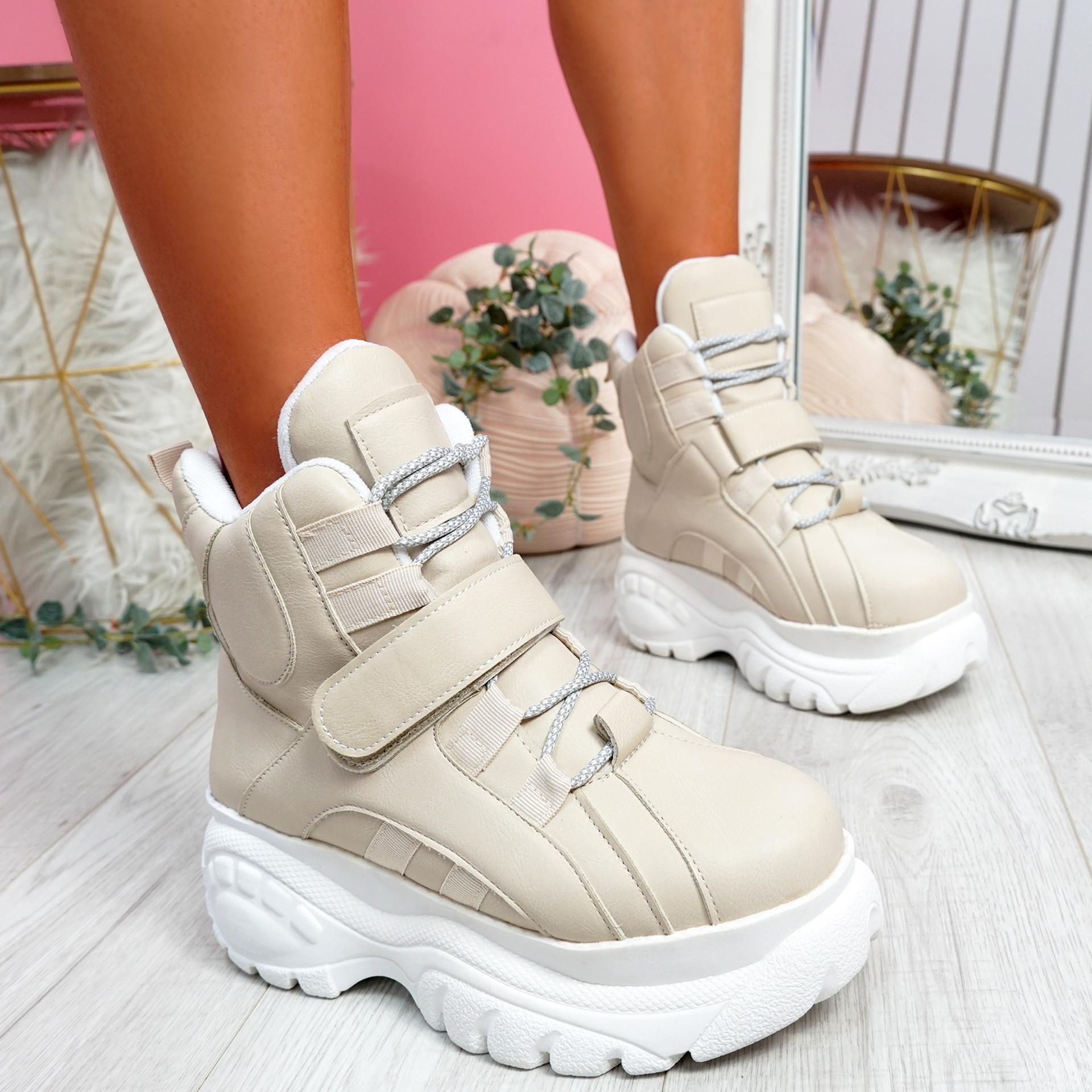 Guffe Beige Flatform Ankle Boots