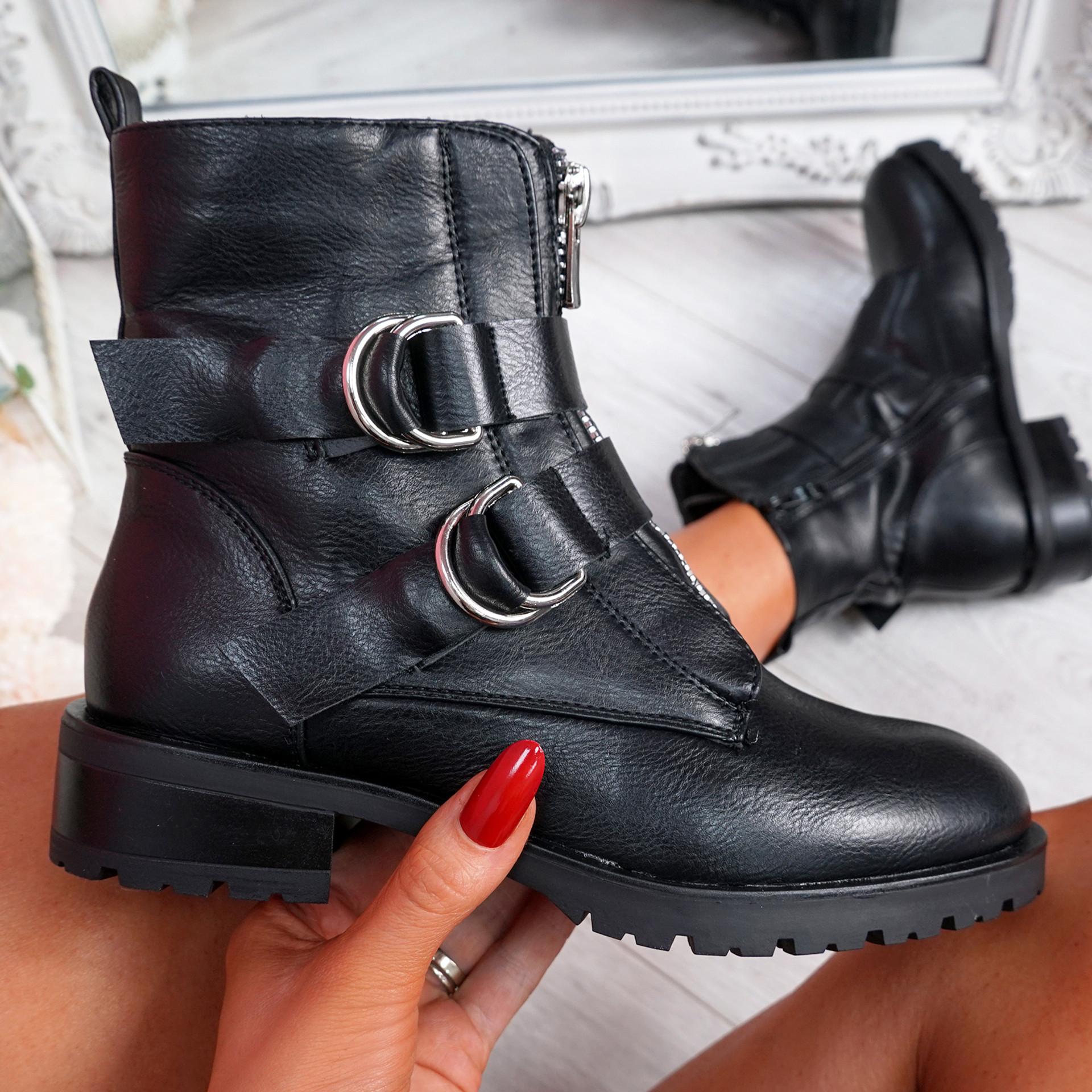 Kuja Black Pu Zip Ankle Boots