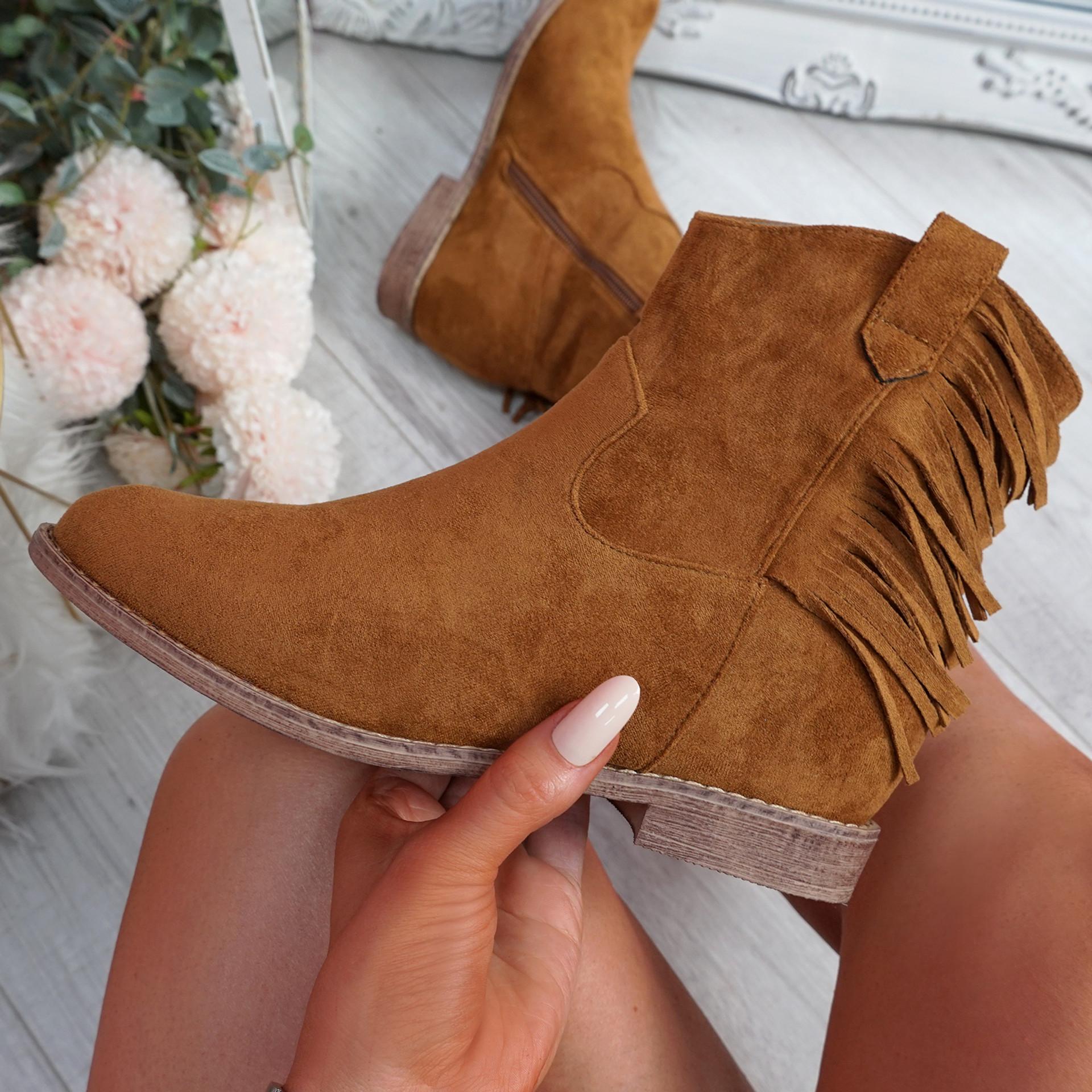 Nessya Camel Fringe Ankle Boots