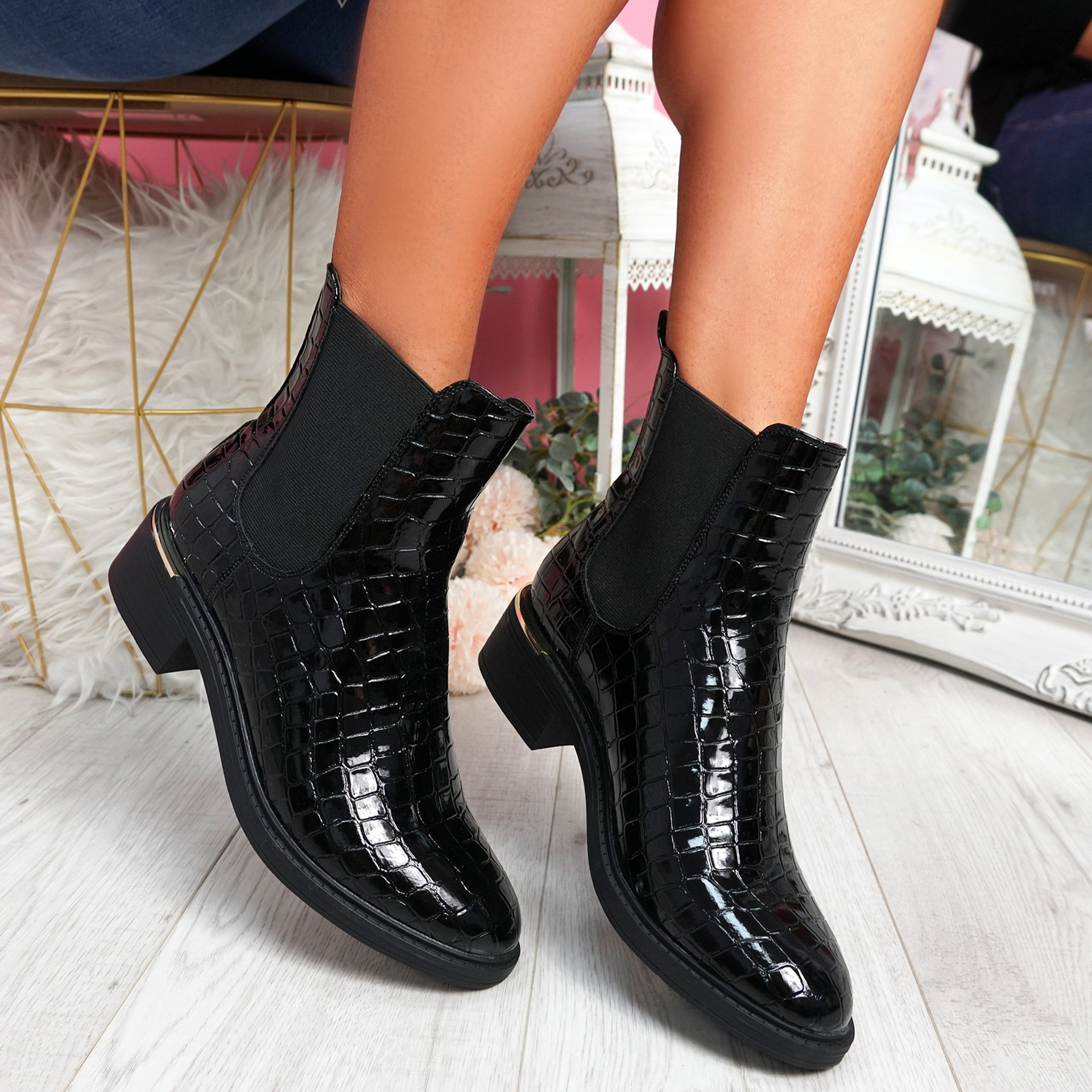 Fenny Black Croc Chelsea Ankle Boots