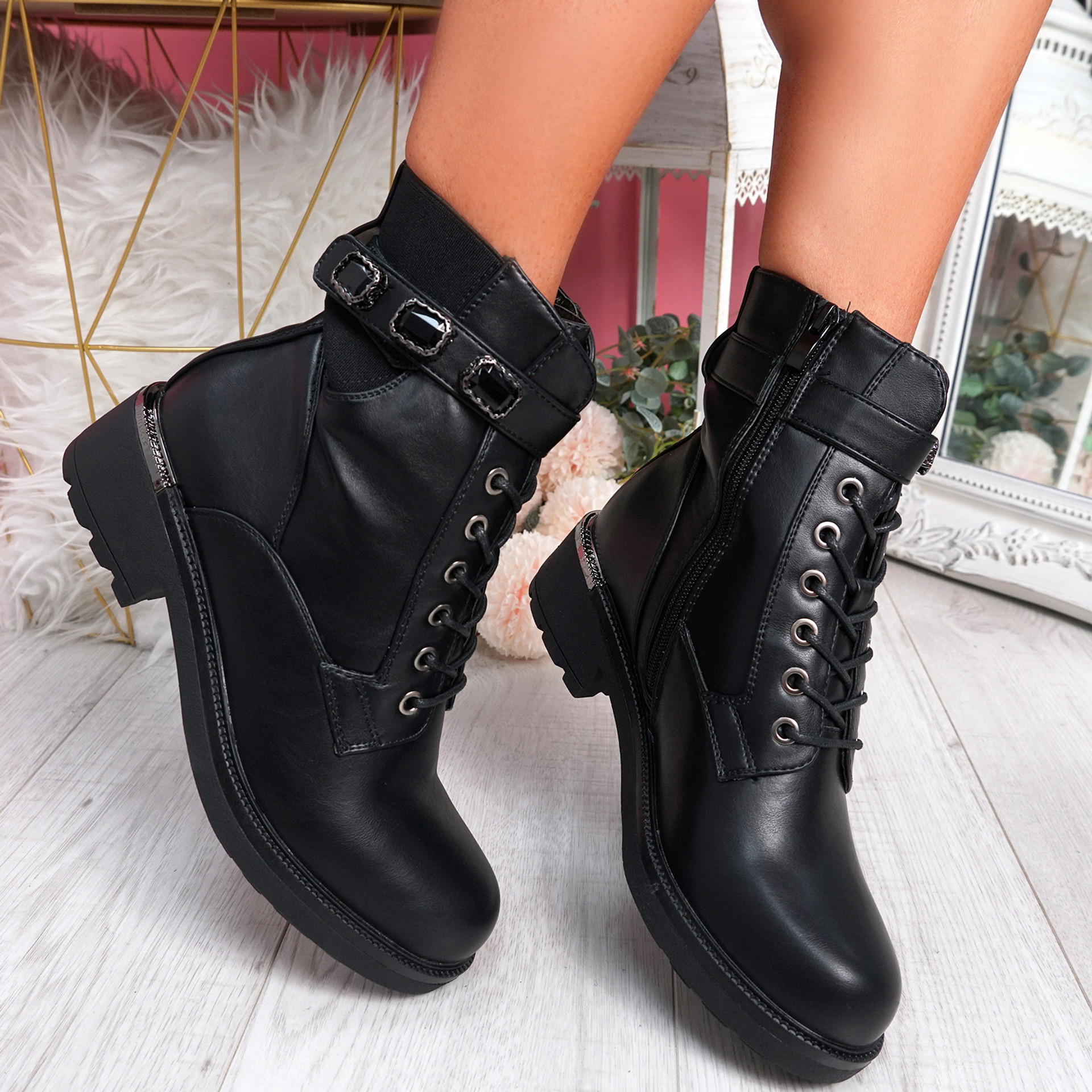 Noje Black Zip Ankle Boots
