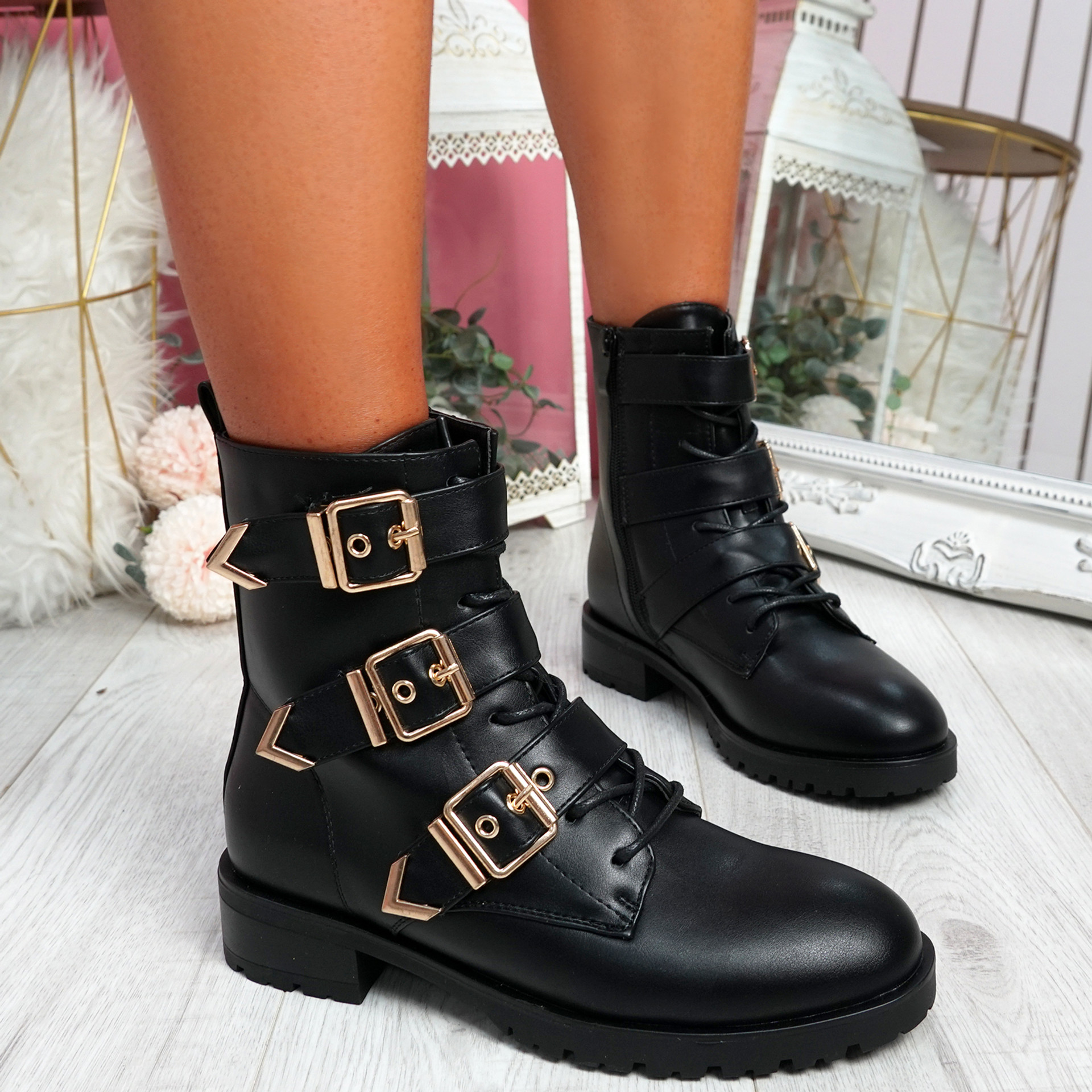 Famma Black Buckle Zip Ankle Boots