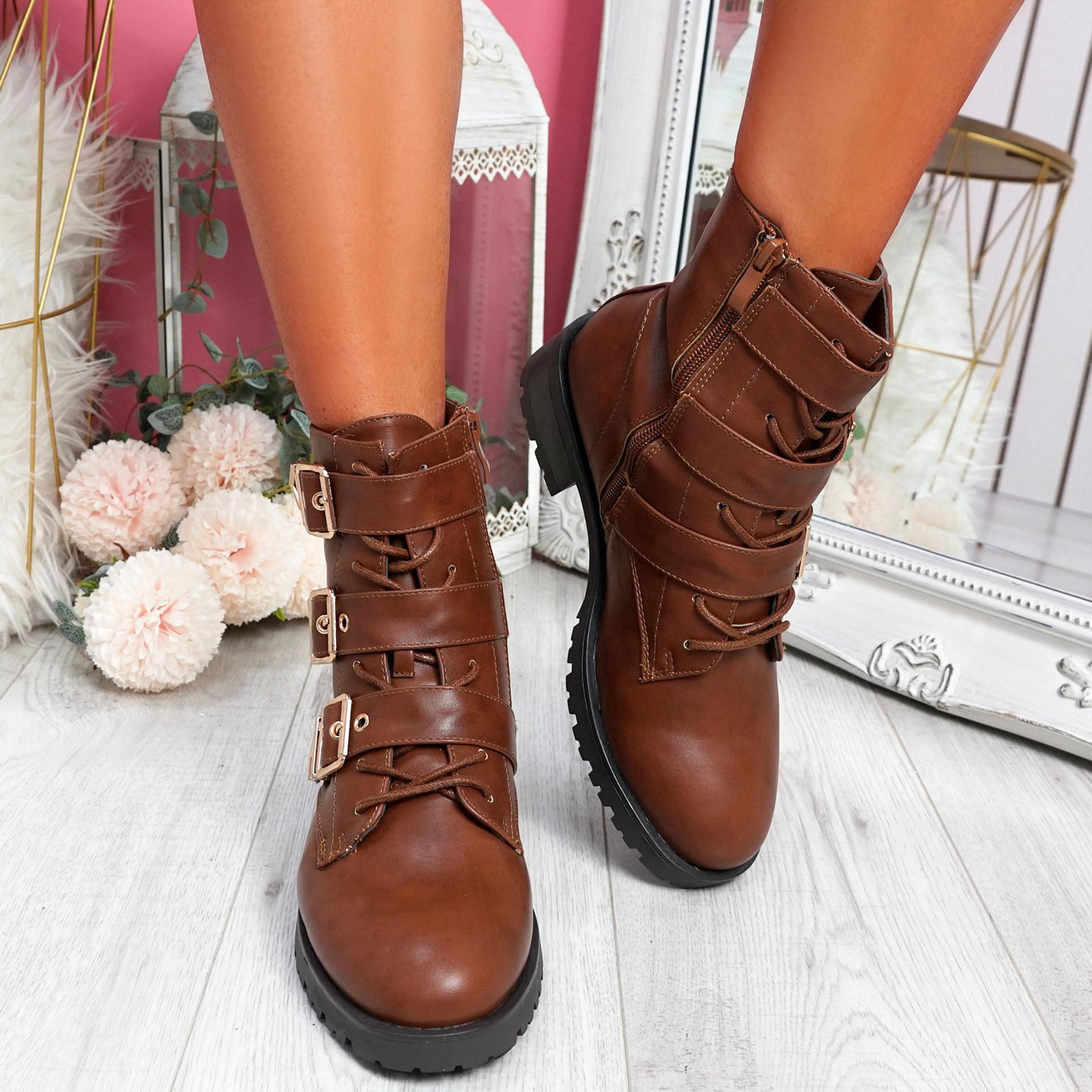 Famma Camel Buckle Zip Ankle Boots
