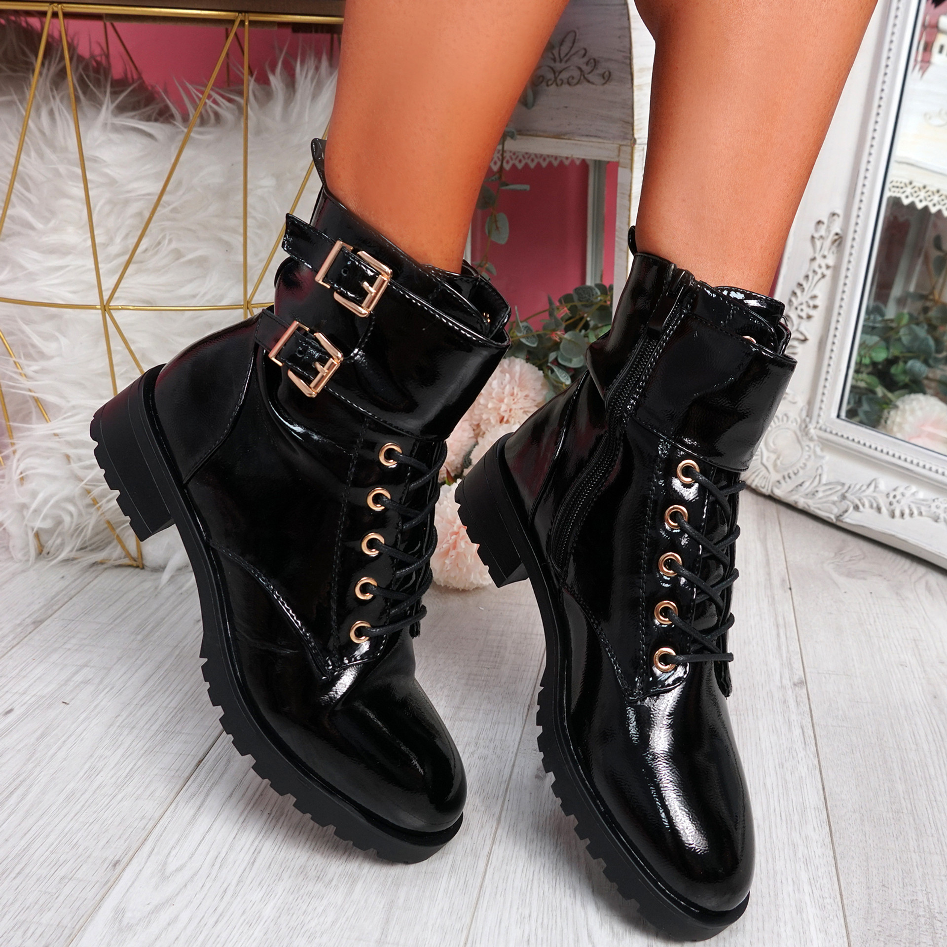Korra Black Patent Zip Ankle Boots