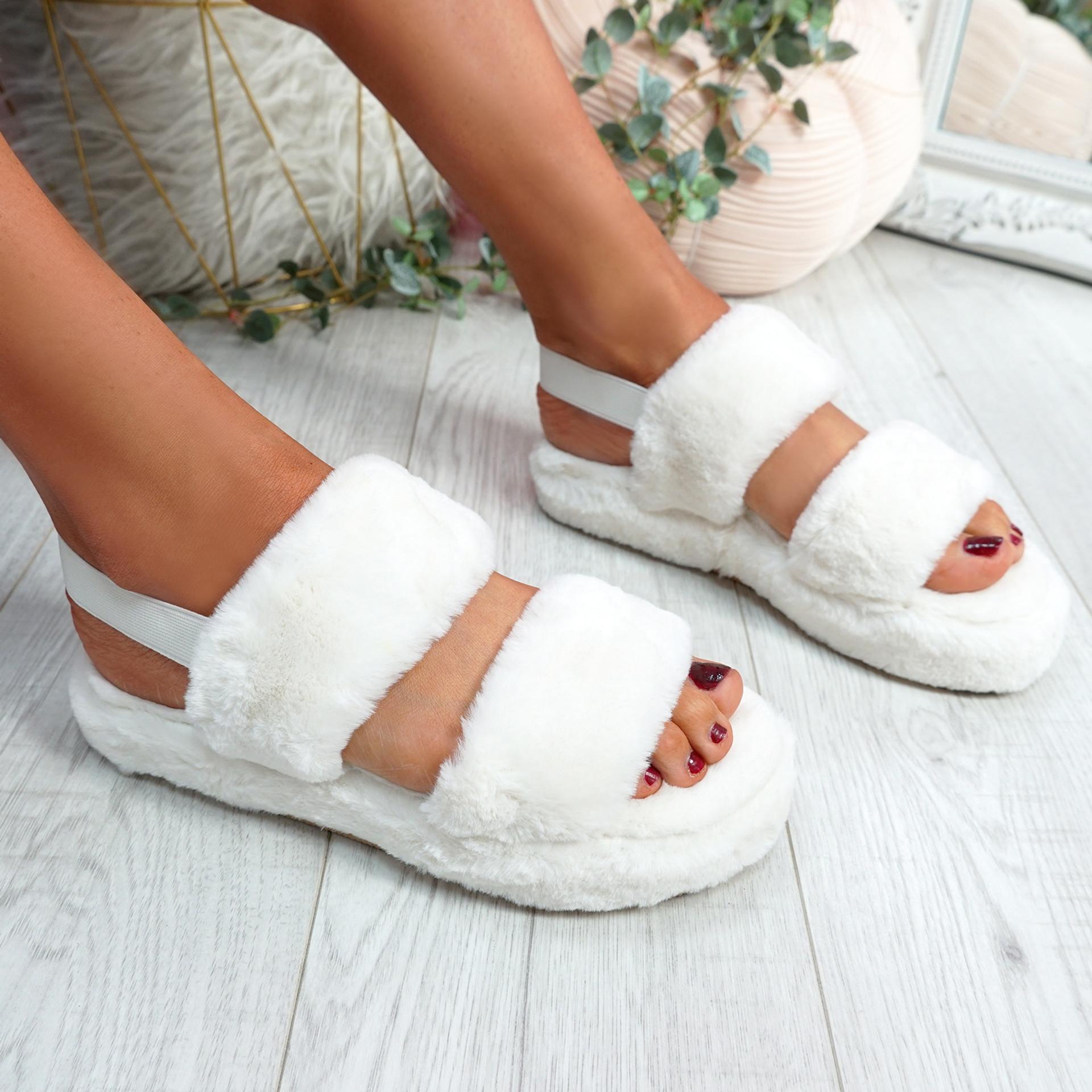 Cinny White Fluffy Sliders
