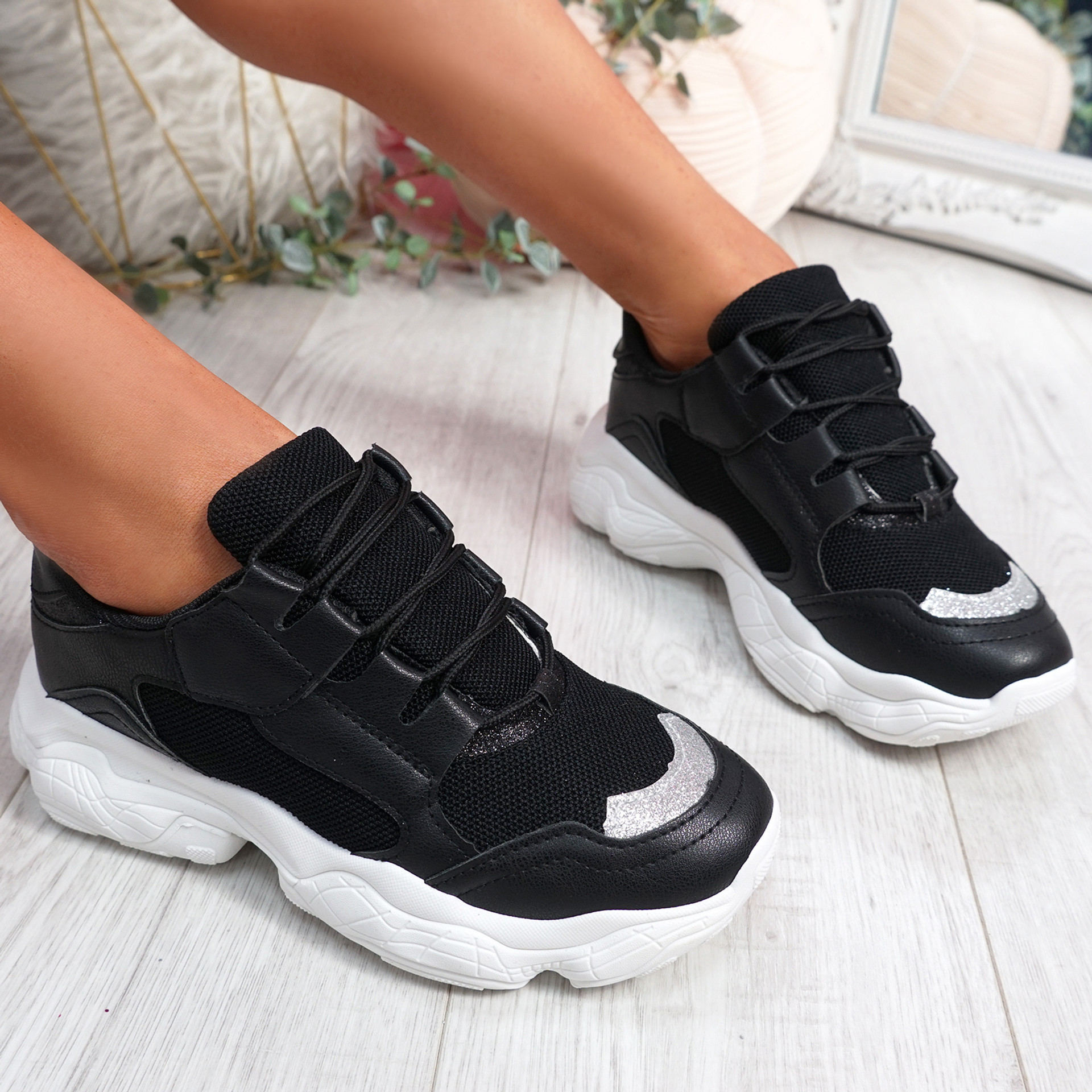 Lonne Black Chunky Sneakers