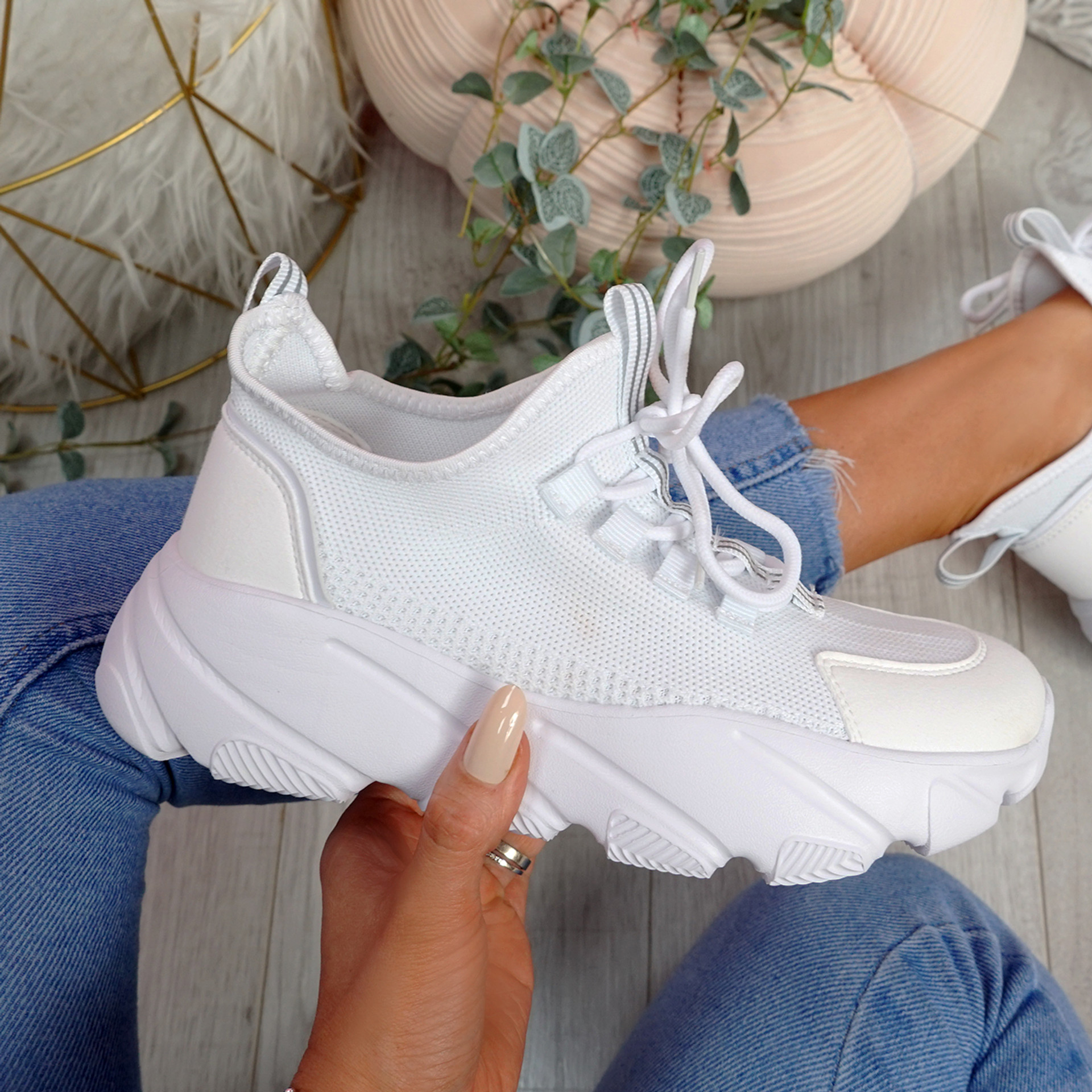 Loddy White Mesh Chunky Trainers