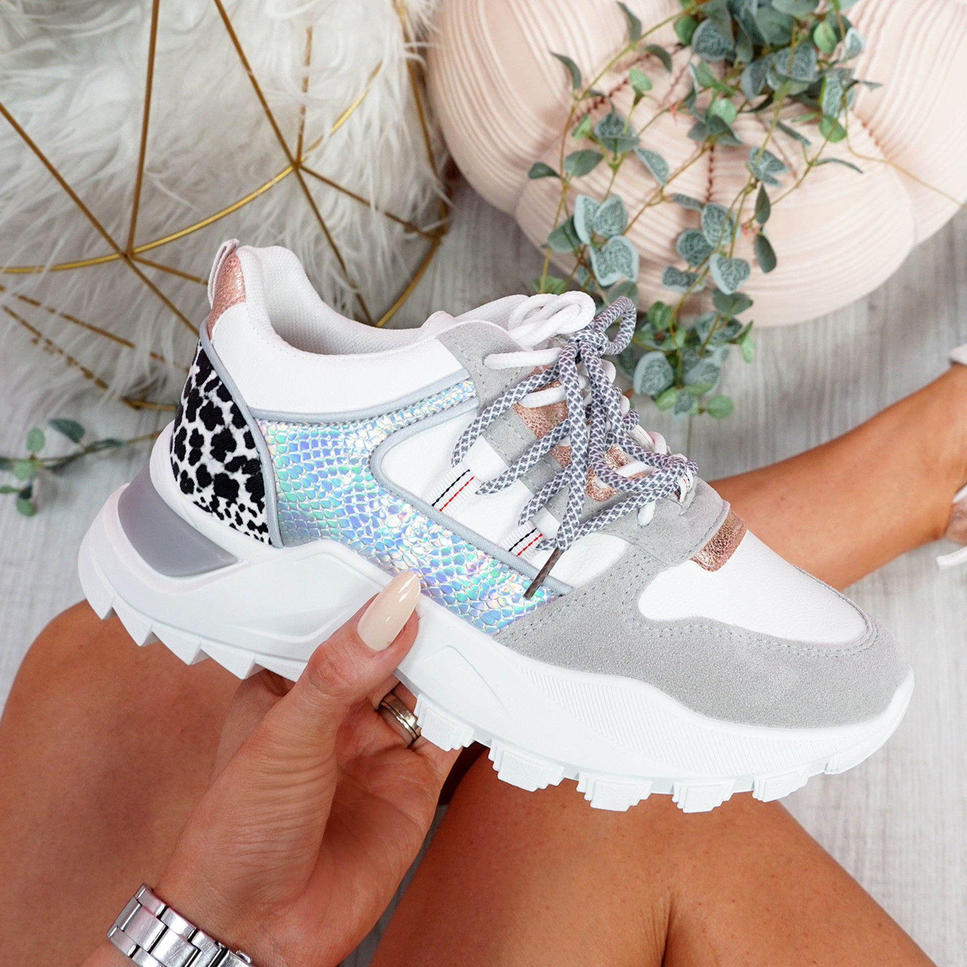Gunna Silver Chunky Trainers
