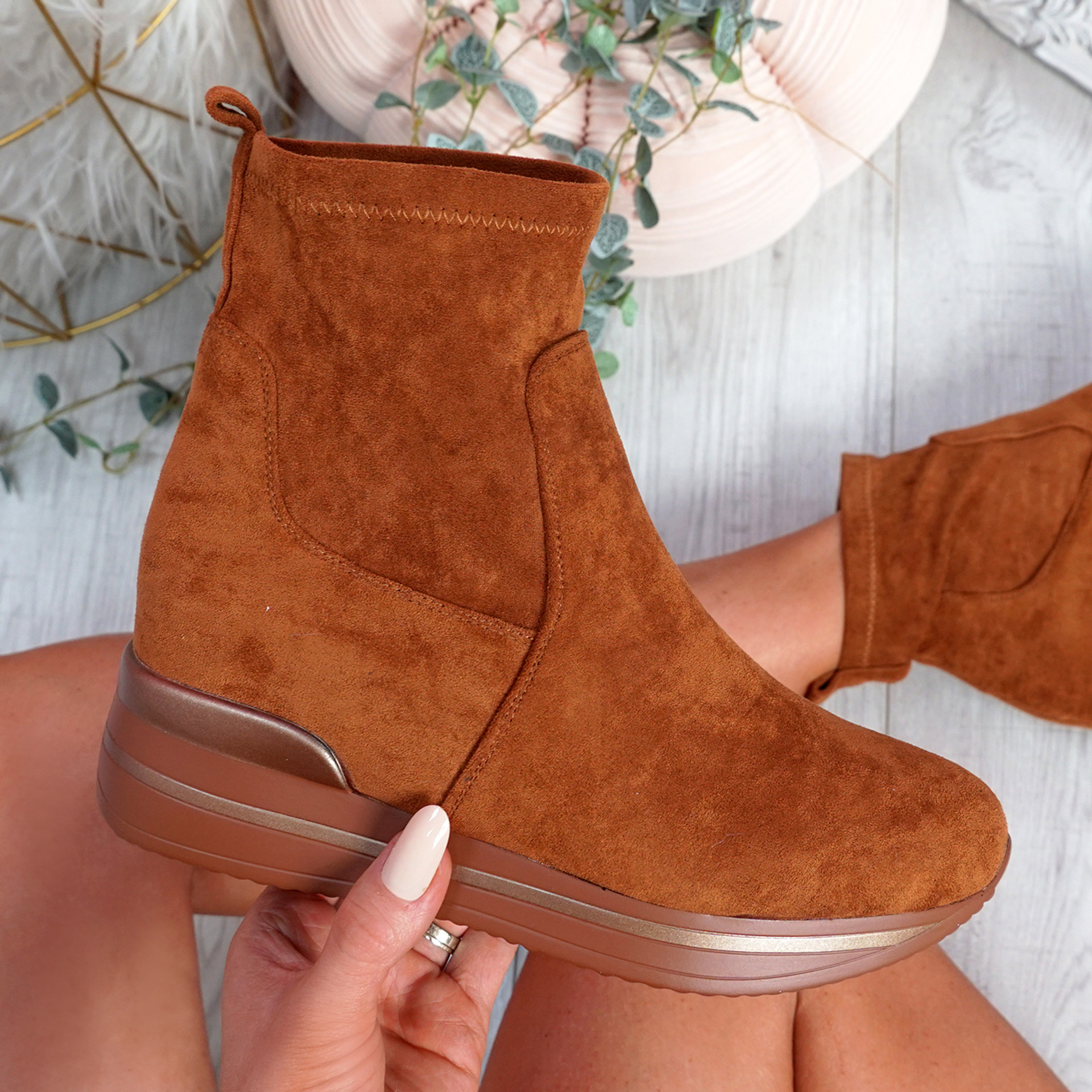 Sirre Camel Slip On Ankle Boots