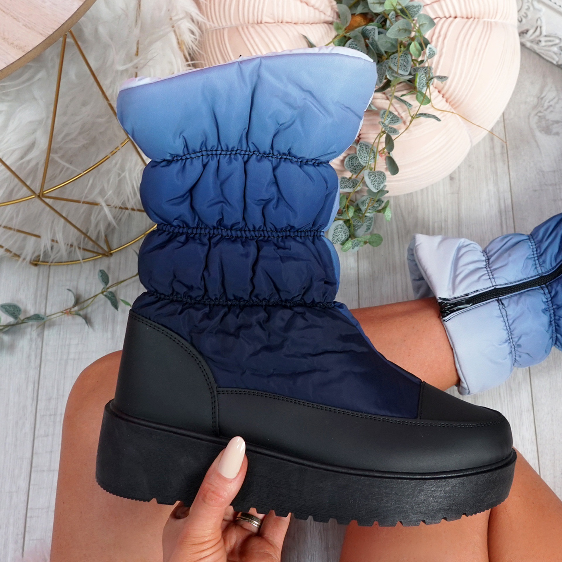 Ibby Blue Winter Mid Calf Boots