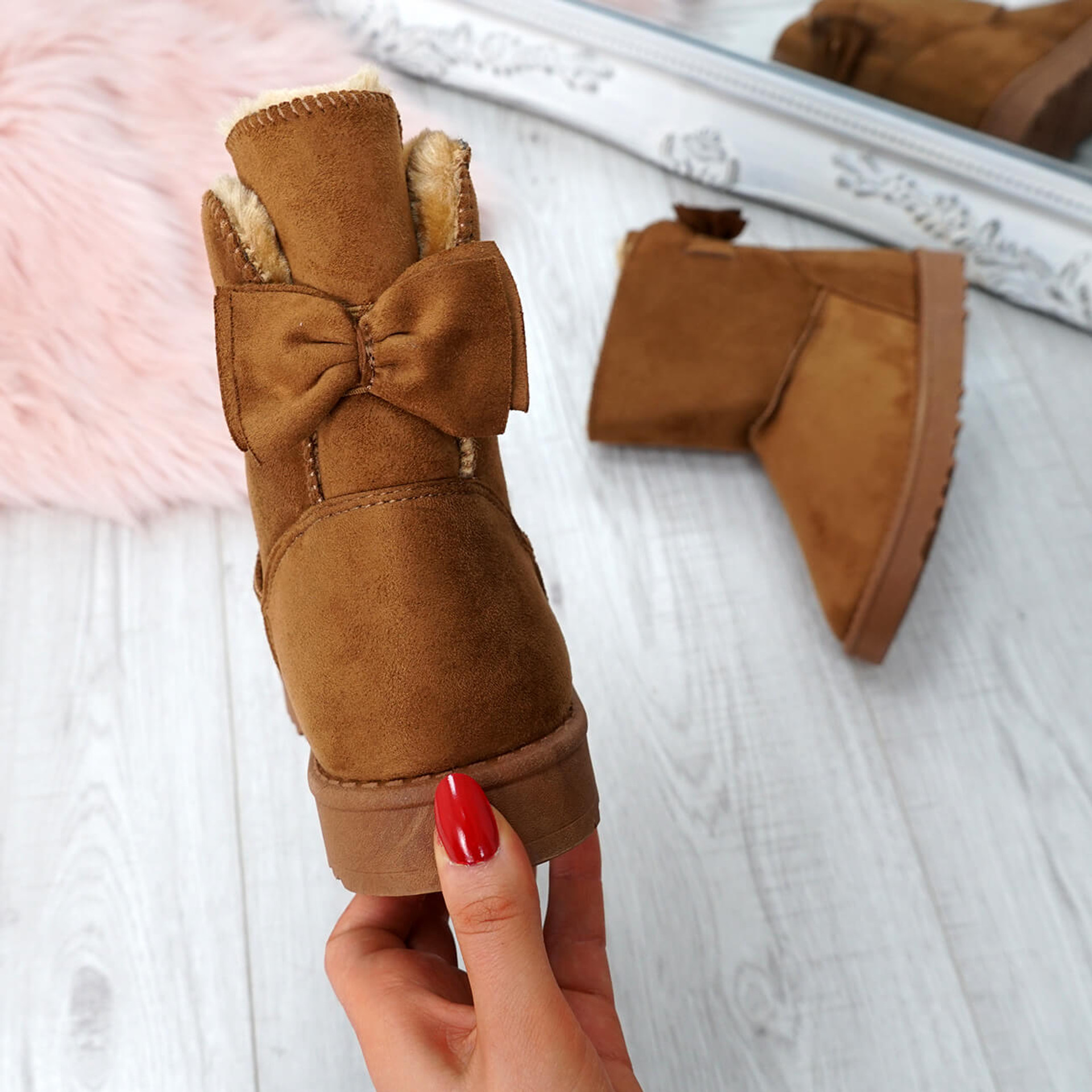 Bippa Camel Faux Fur Ankle Boots