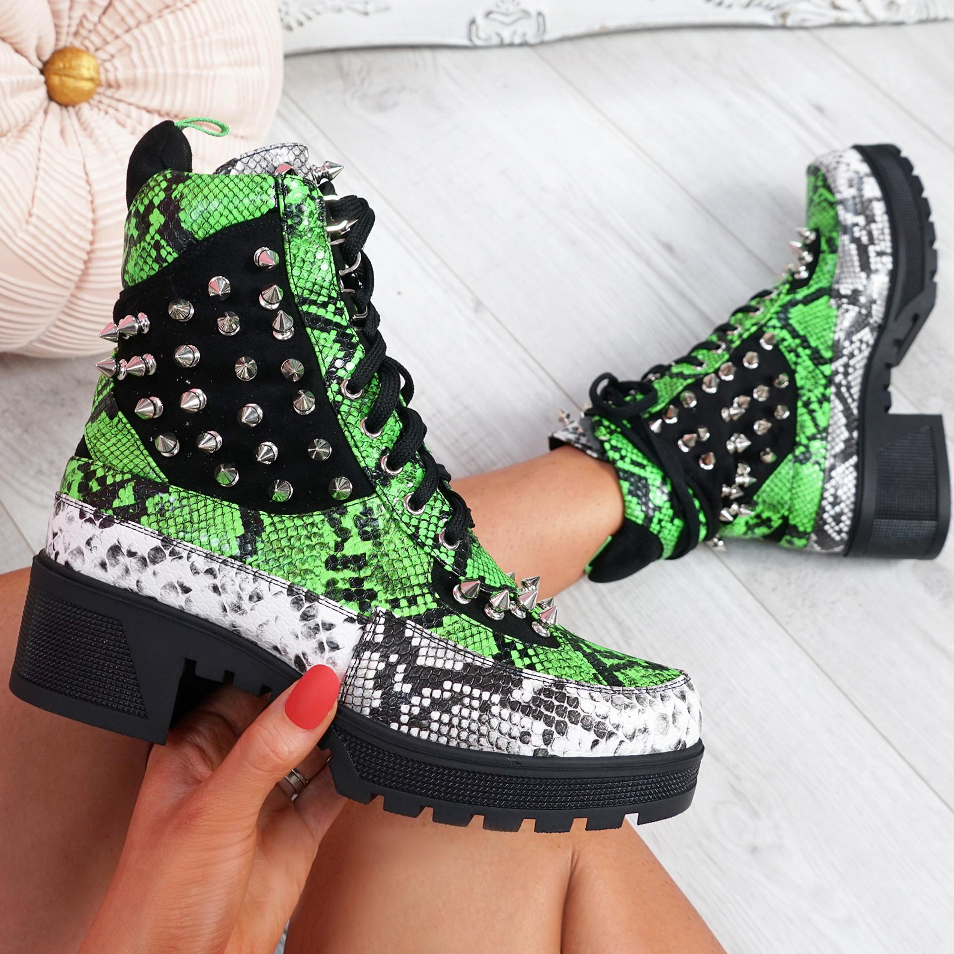 Ivna Snake Spike Studded Ankle Boots