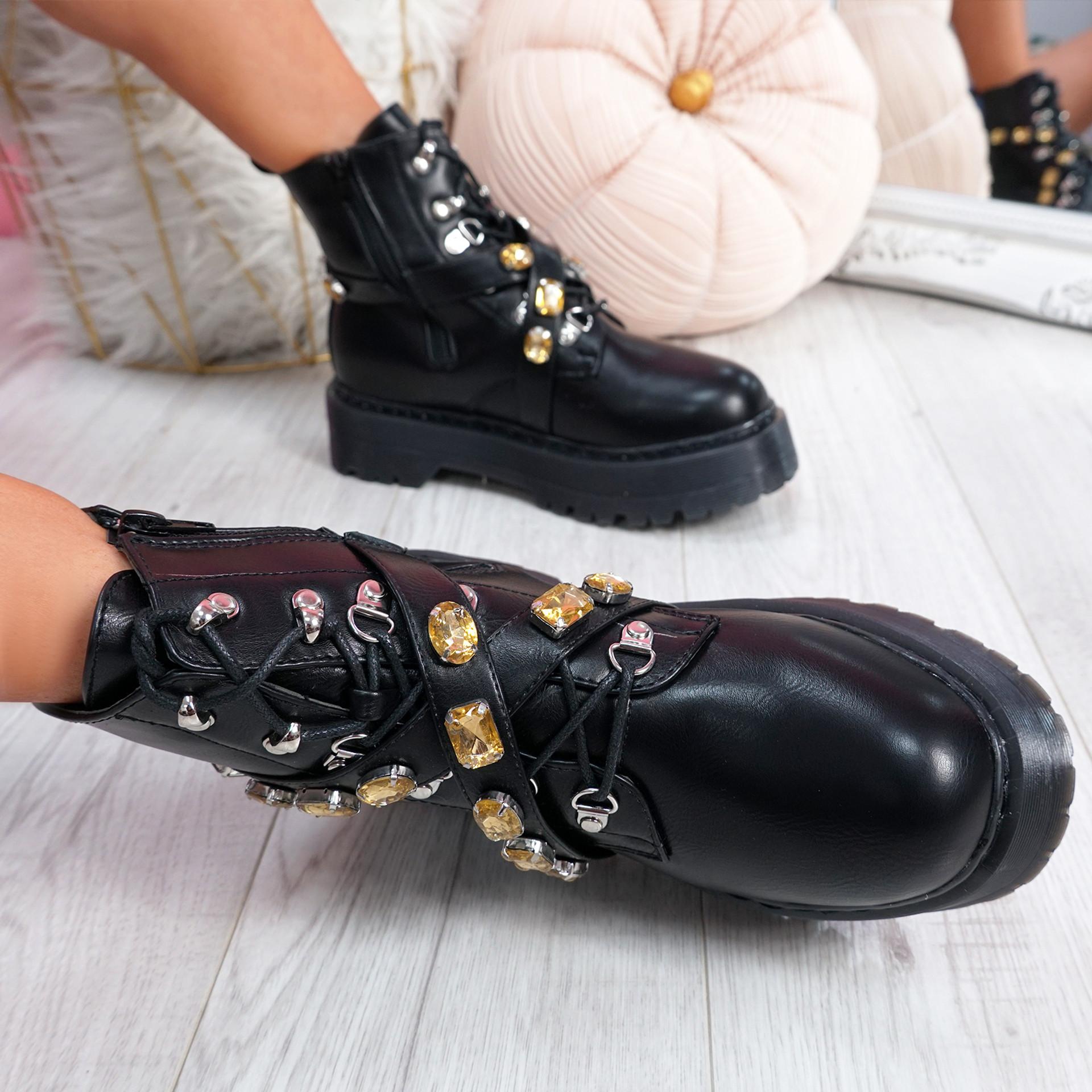 Kessi Black Rhinestone Ankle Boots
