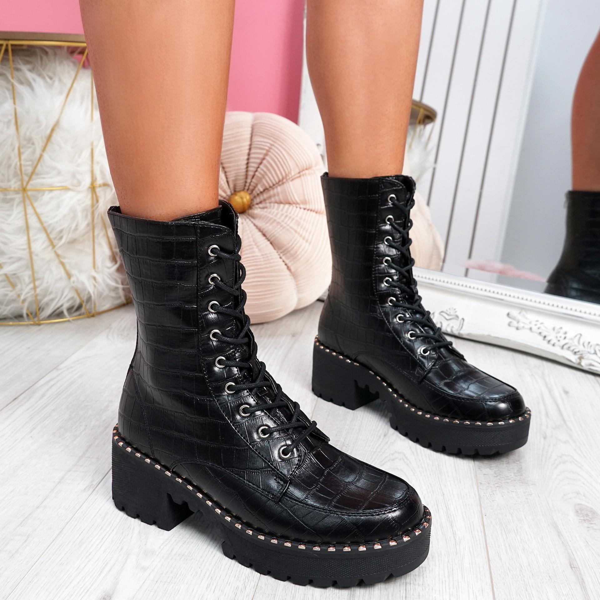 Lodda Black Croc High Top Biker Ankle Boots