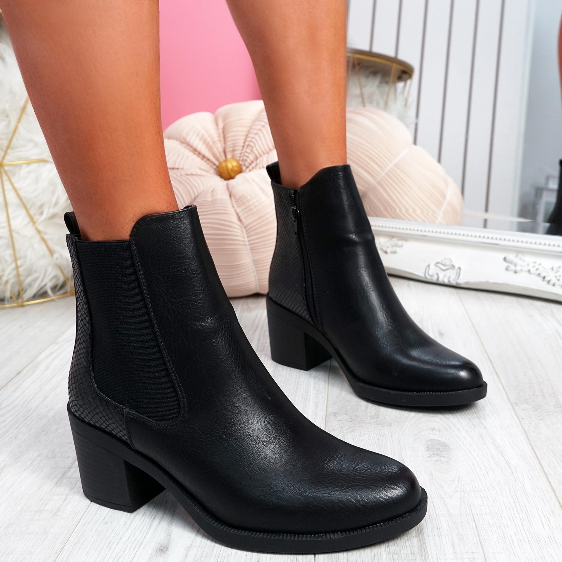 Nuwa Black Snake Block Heel Ankle Boots