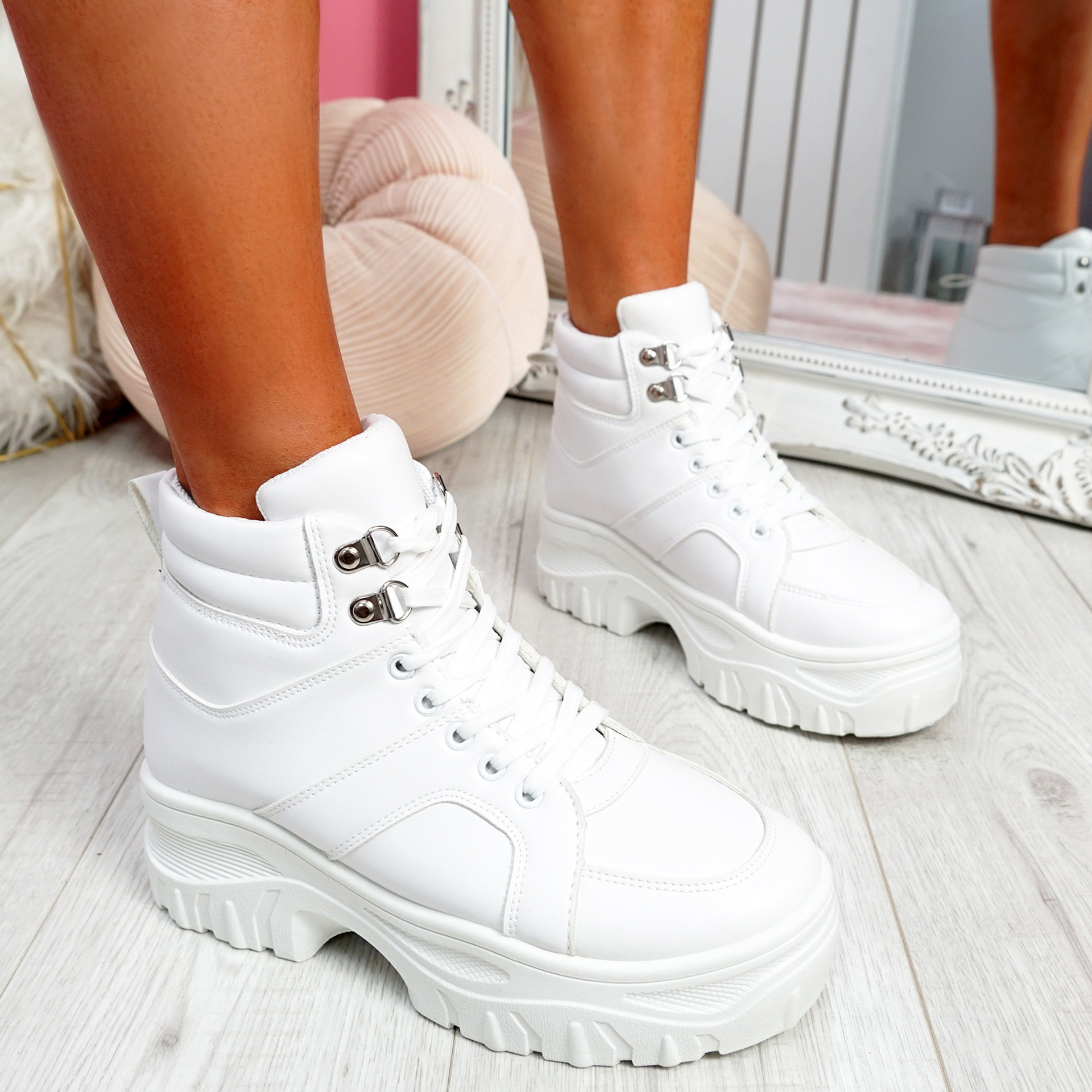 Nimmy White Lace Up Ankle Boots