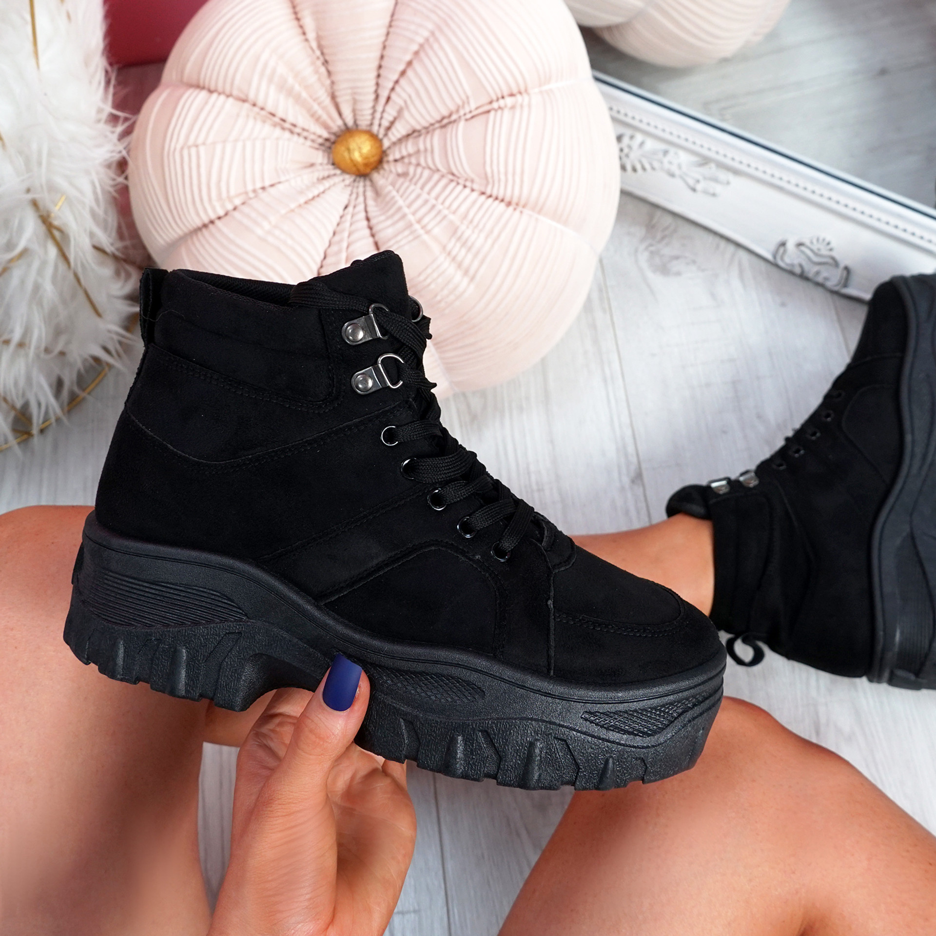 Nimmy Black Lace Up Ankle Boots
