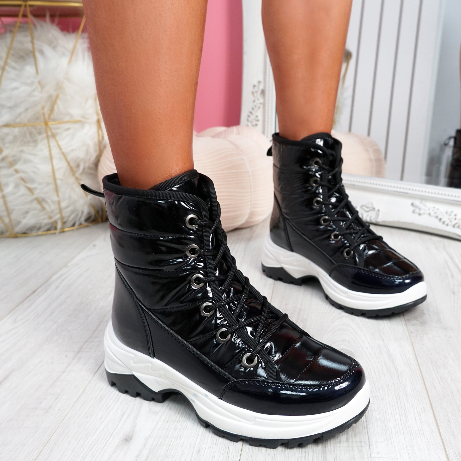 Rezzy Black Lace  Up Ankle Boots
