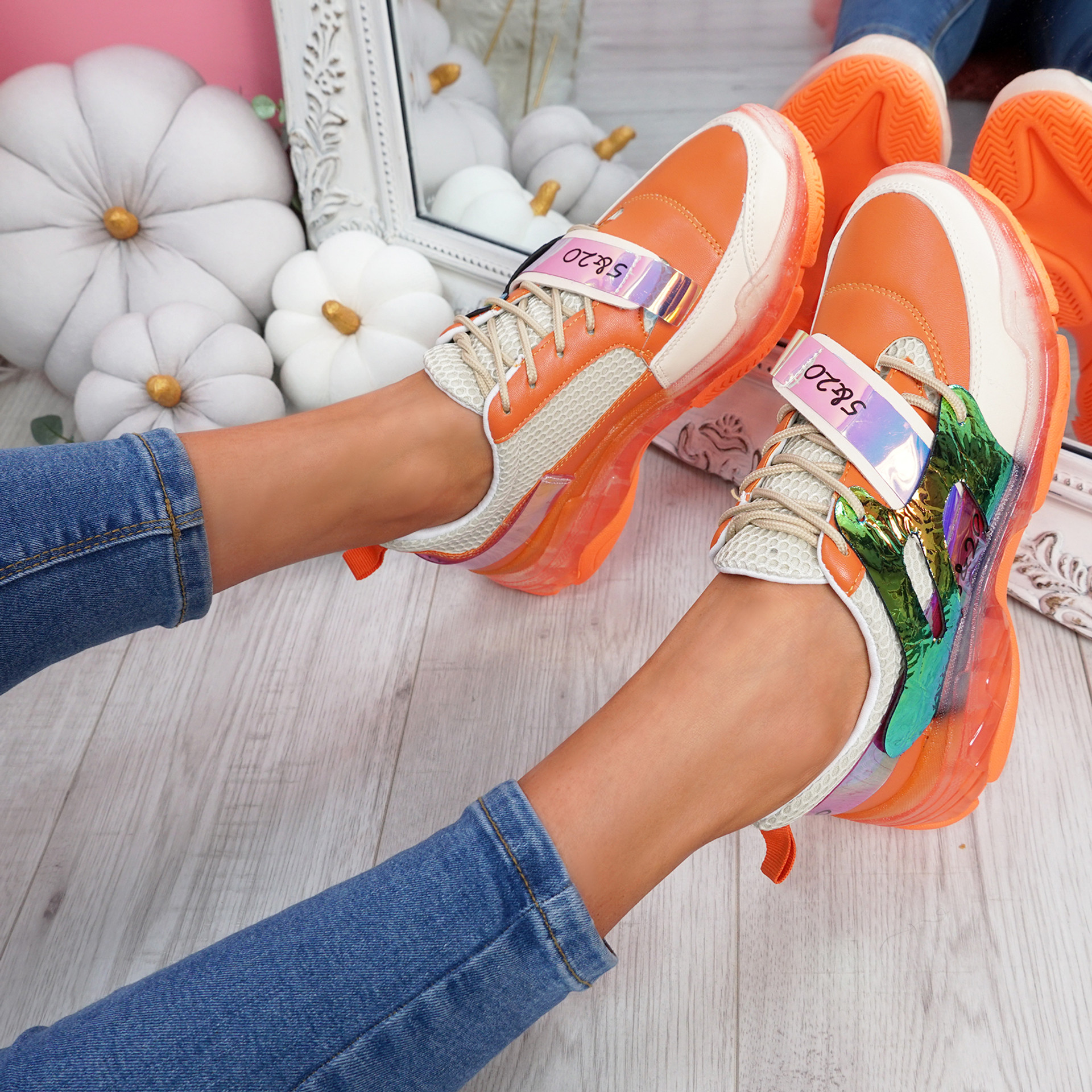 Huma Orange Chunky Running Trainers