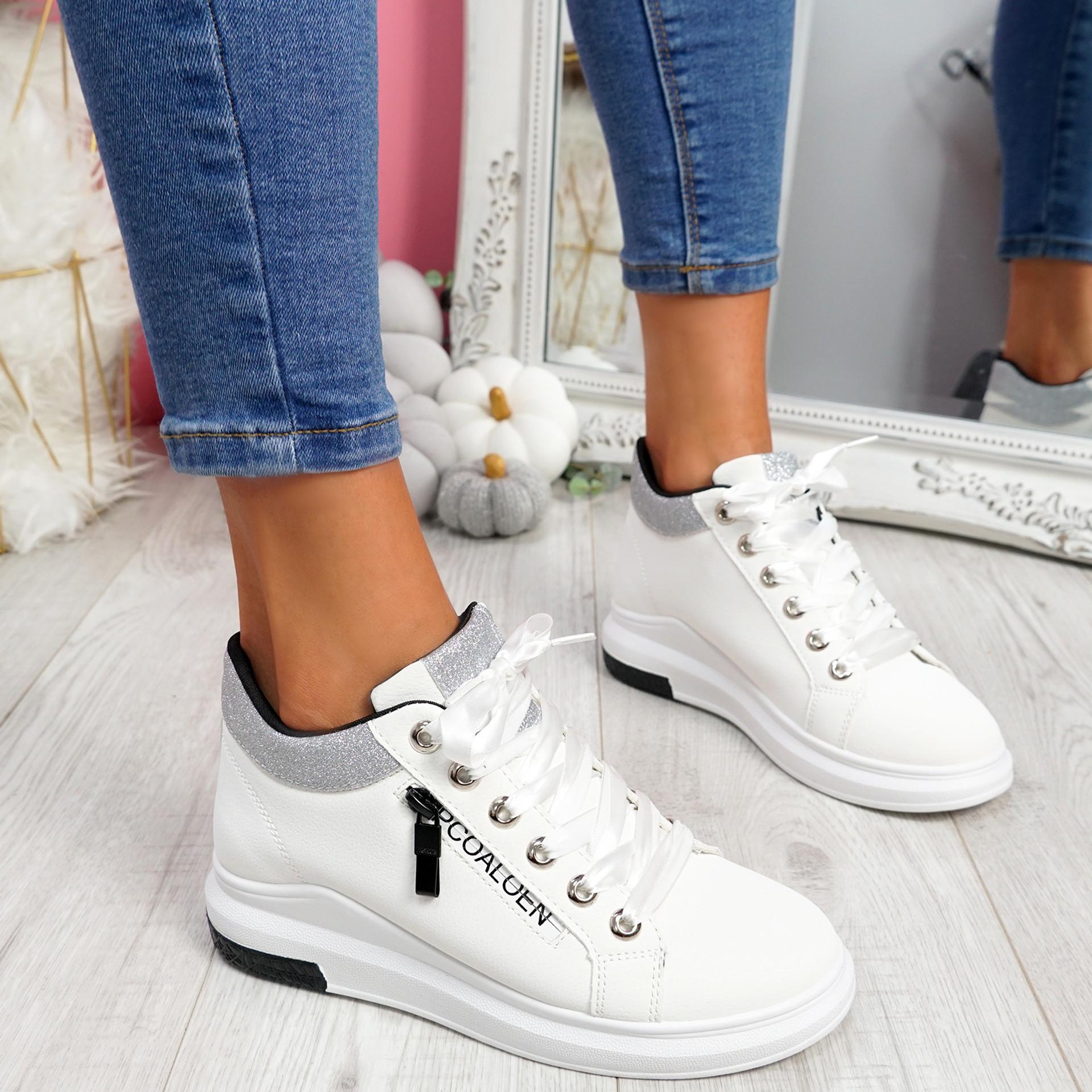 Kebbo White Glitter Sneakers