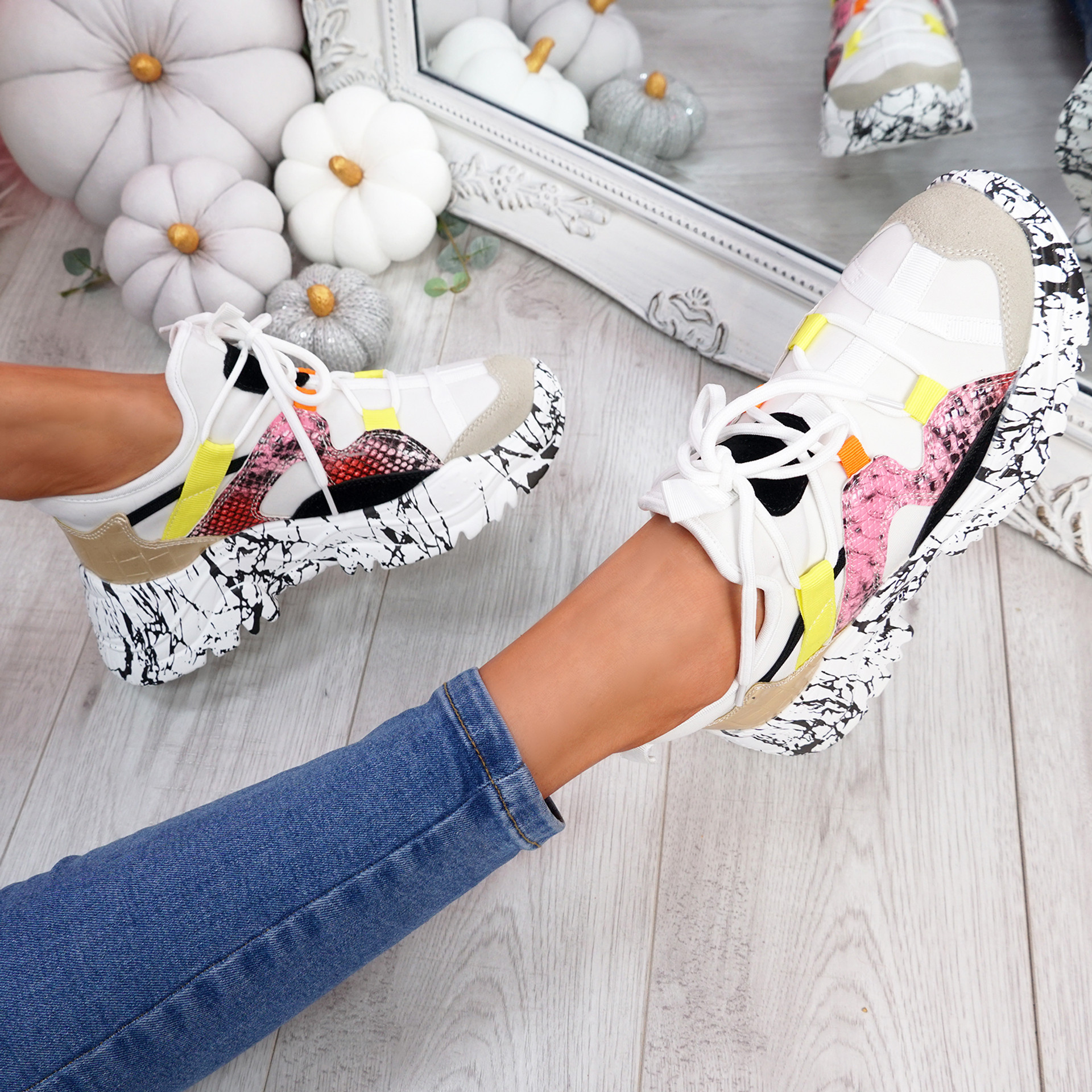 Gillo White Chunky Trainers