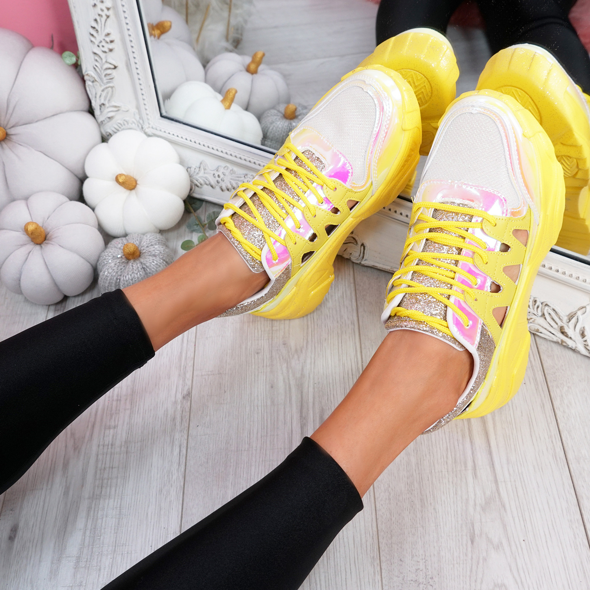 Denno Yellow Glitter Chunky Sneakers