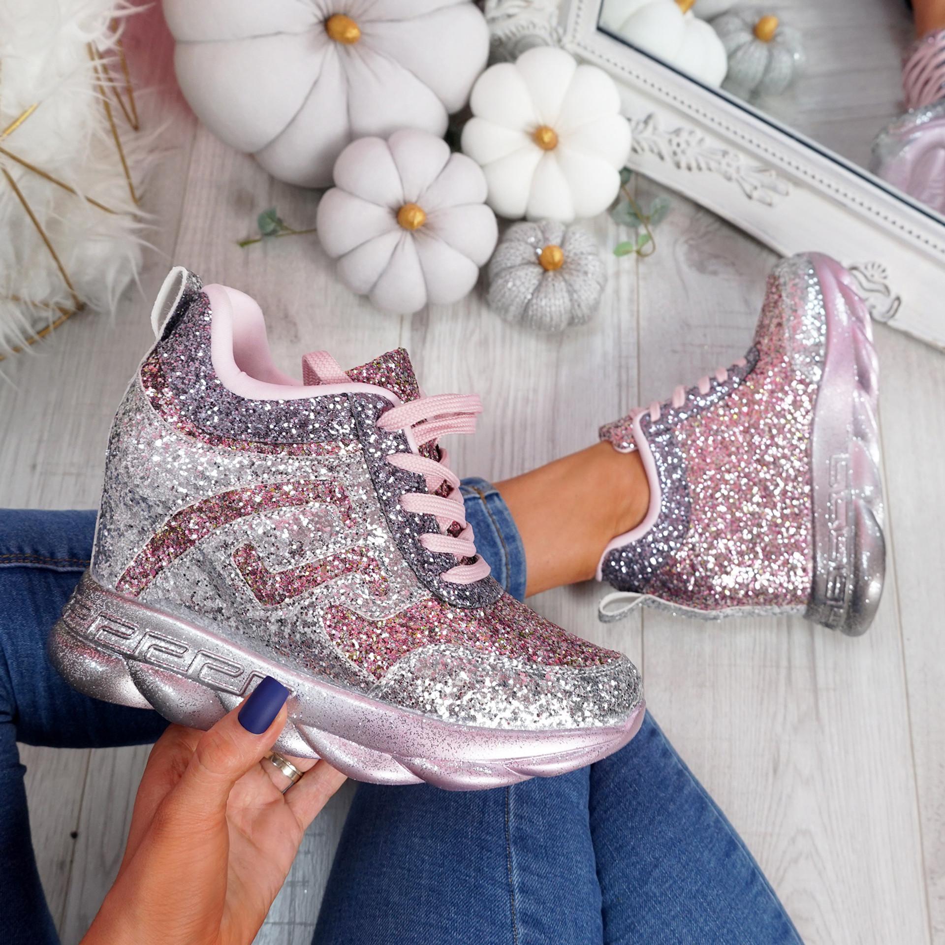 Disso Silver Glitter Wedge Trainers