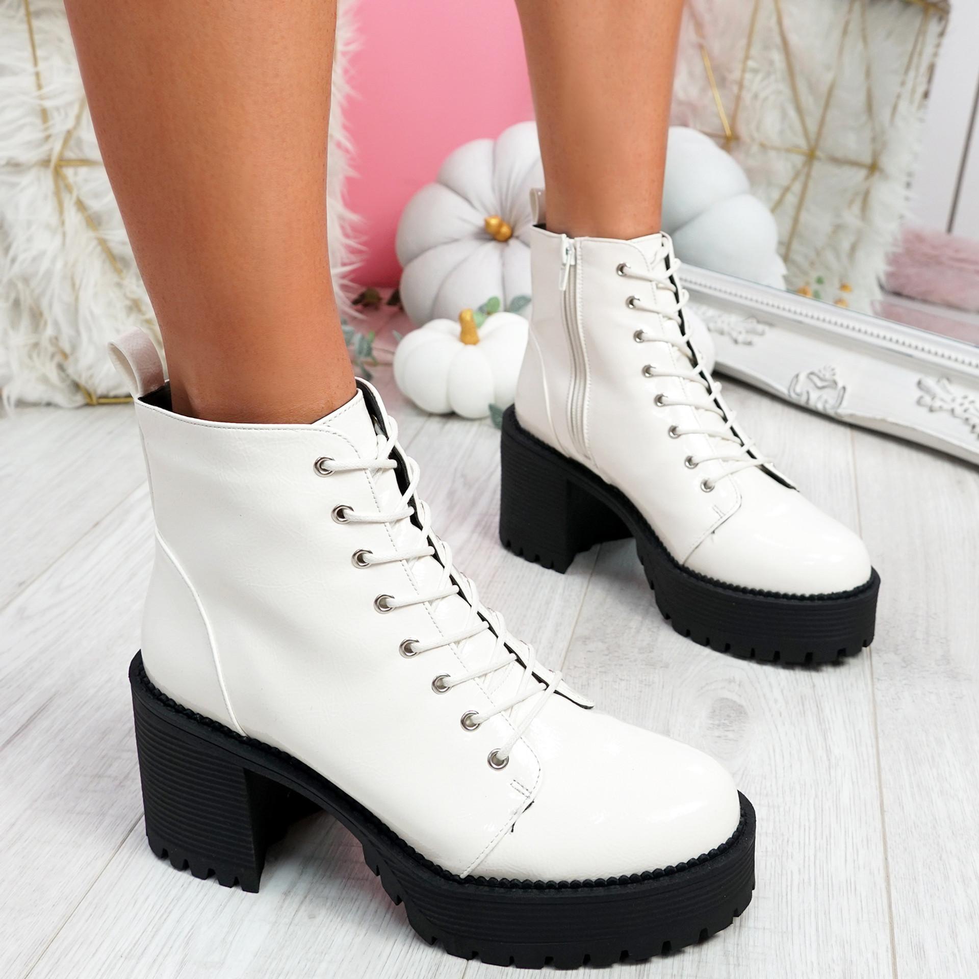 Nudda White Block Heel Ankle Boots