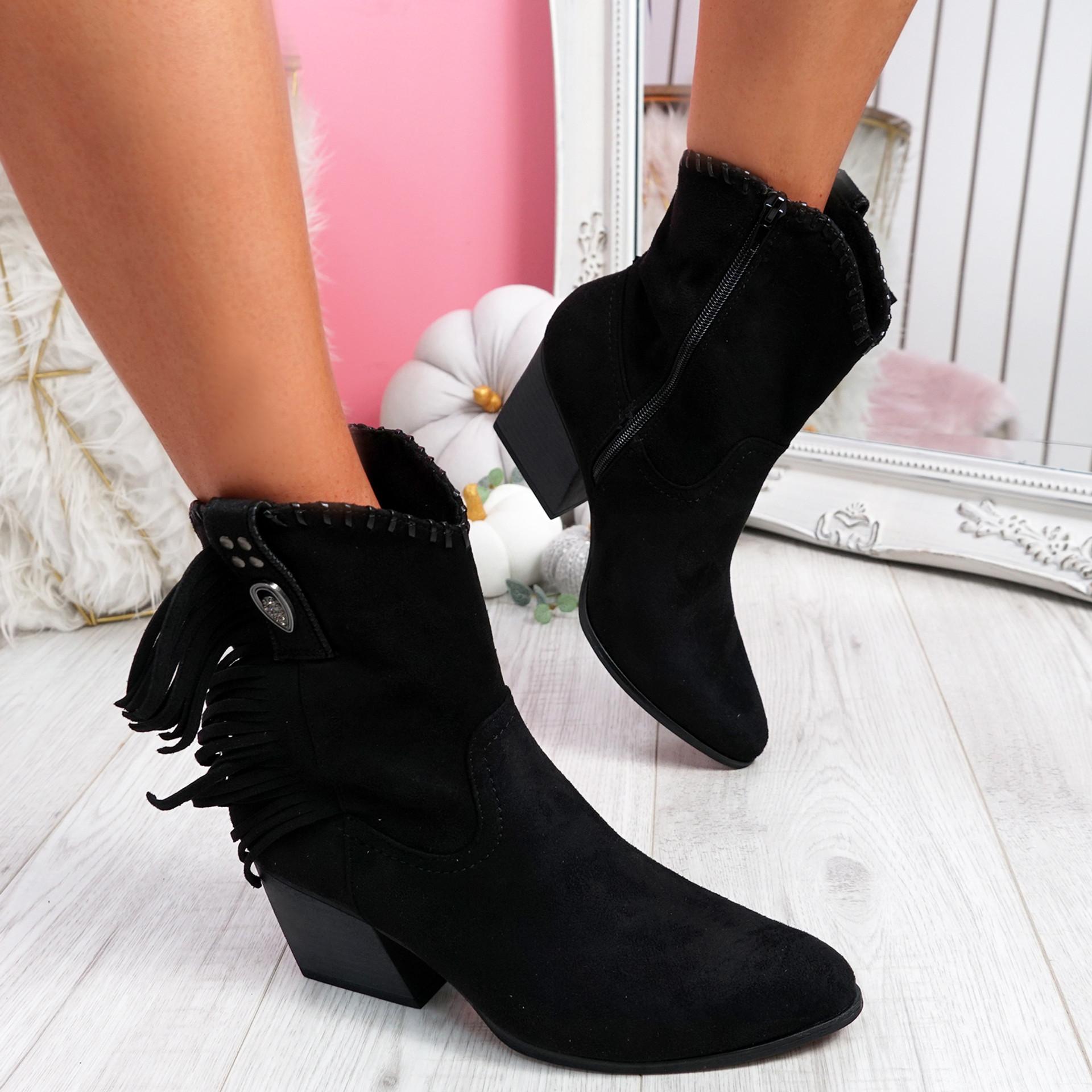 Numpy Black Fringe Ankle Boots