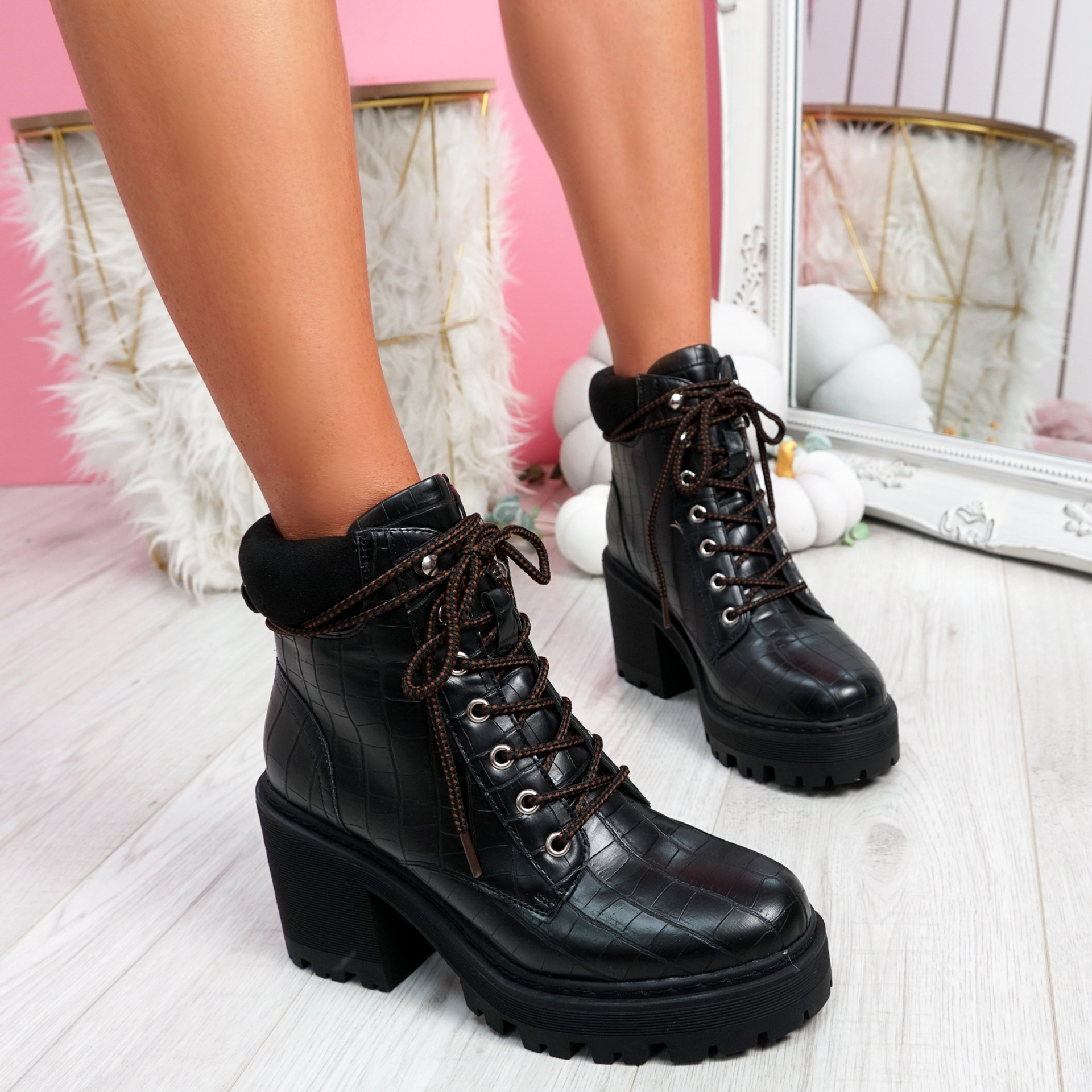 Kofe Black Croc Biker Ankle Boots
