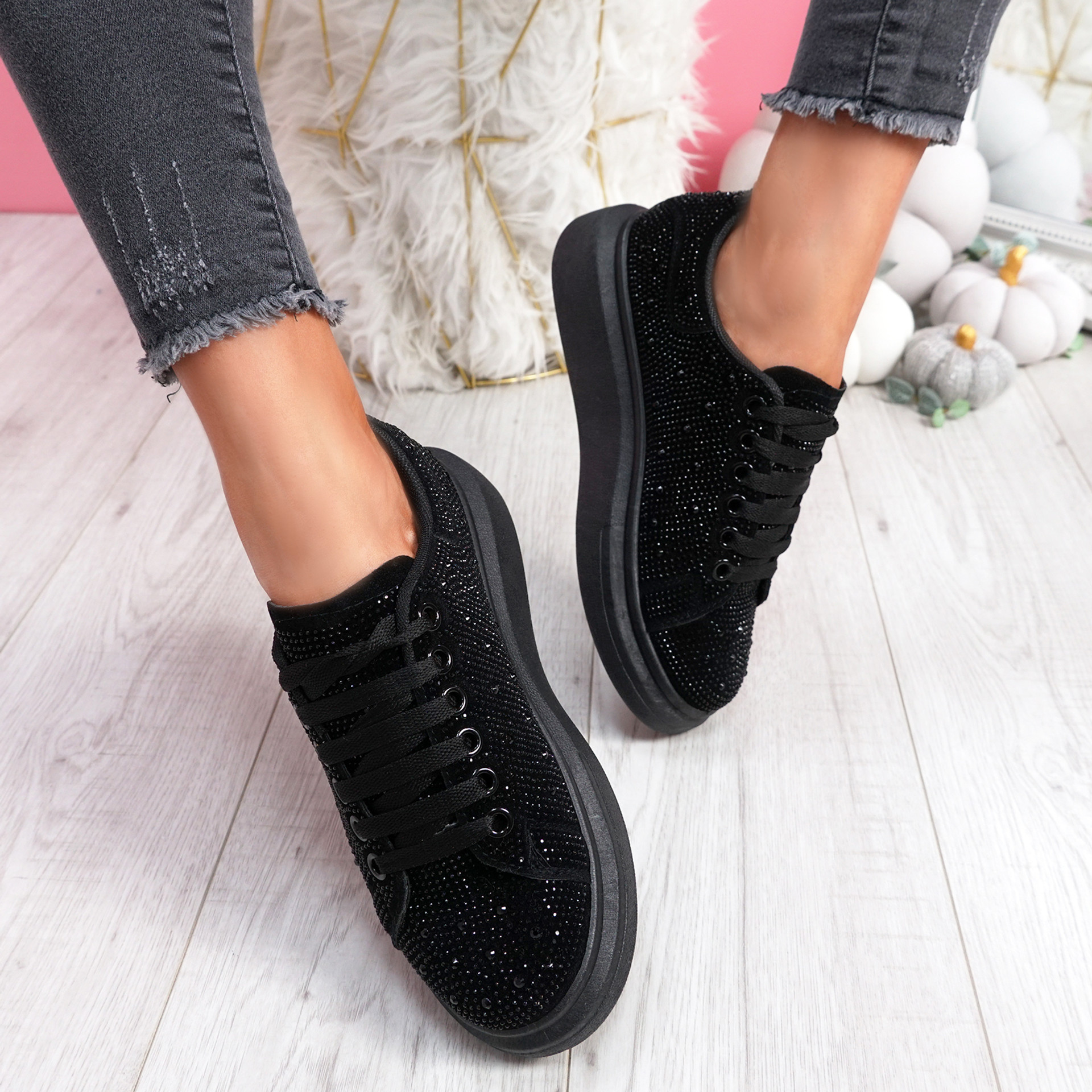 Erry All Black Studded Trainers