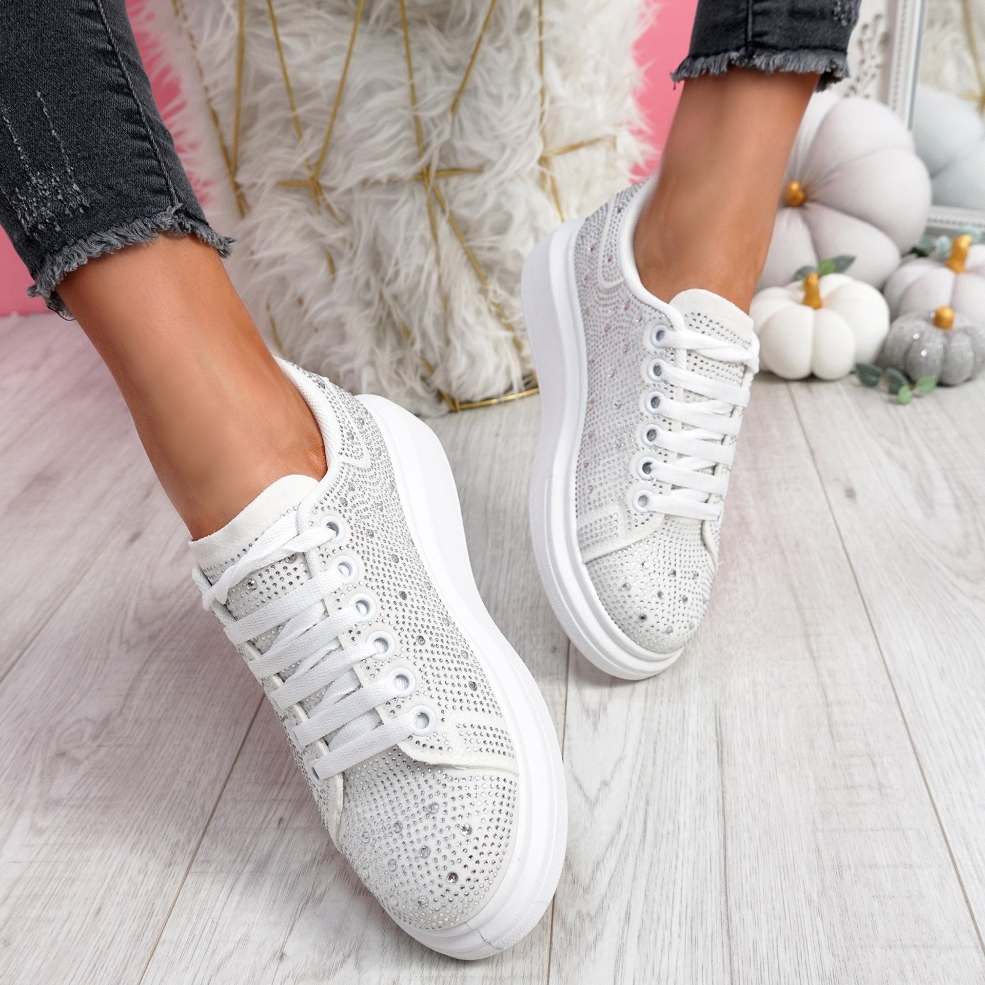 Erry White Studded Trainers