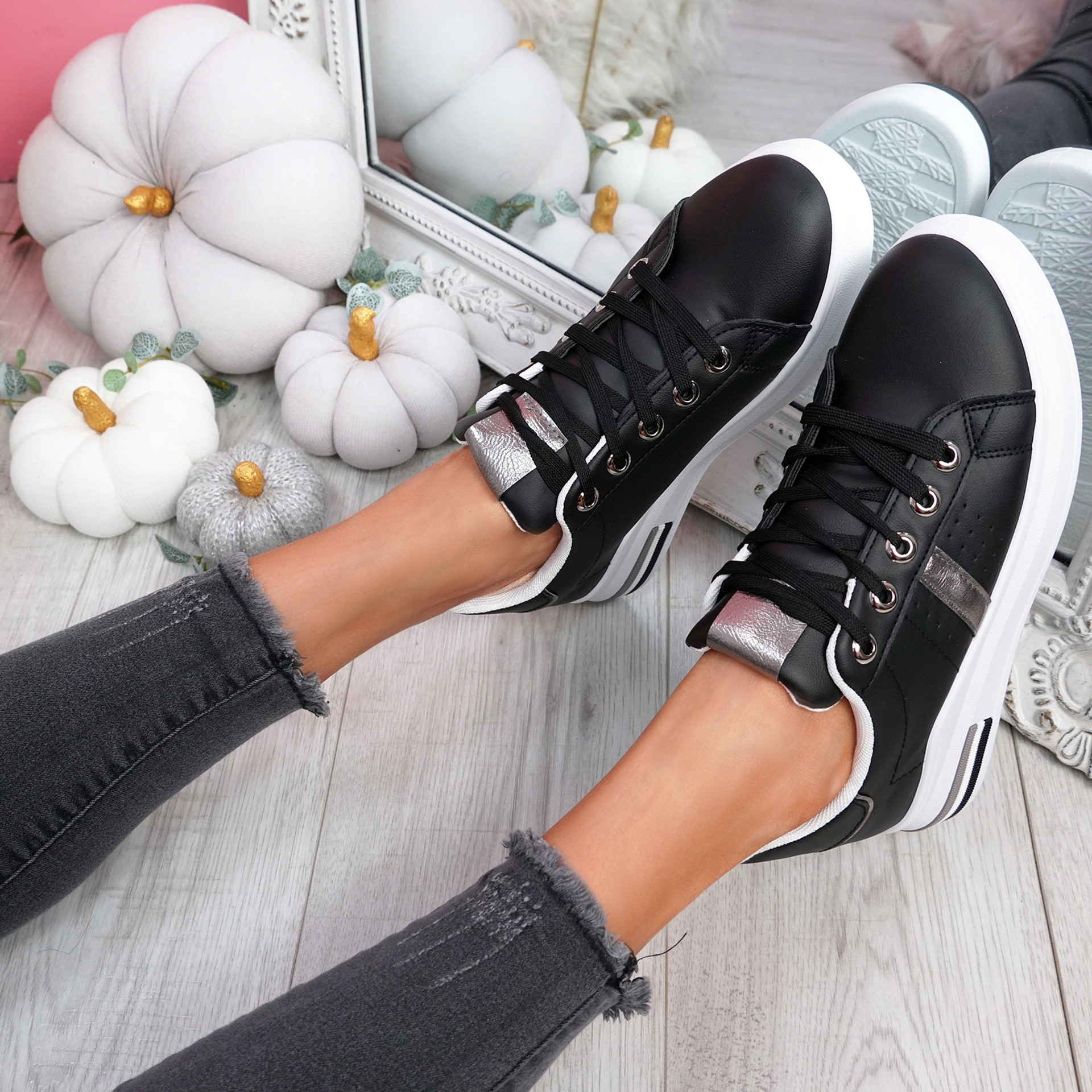 Dibby Black Lace Up Trainers