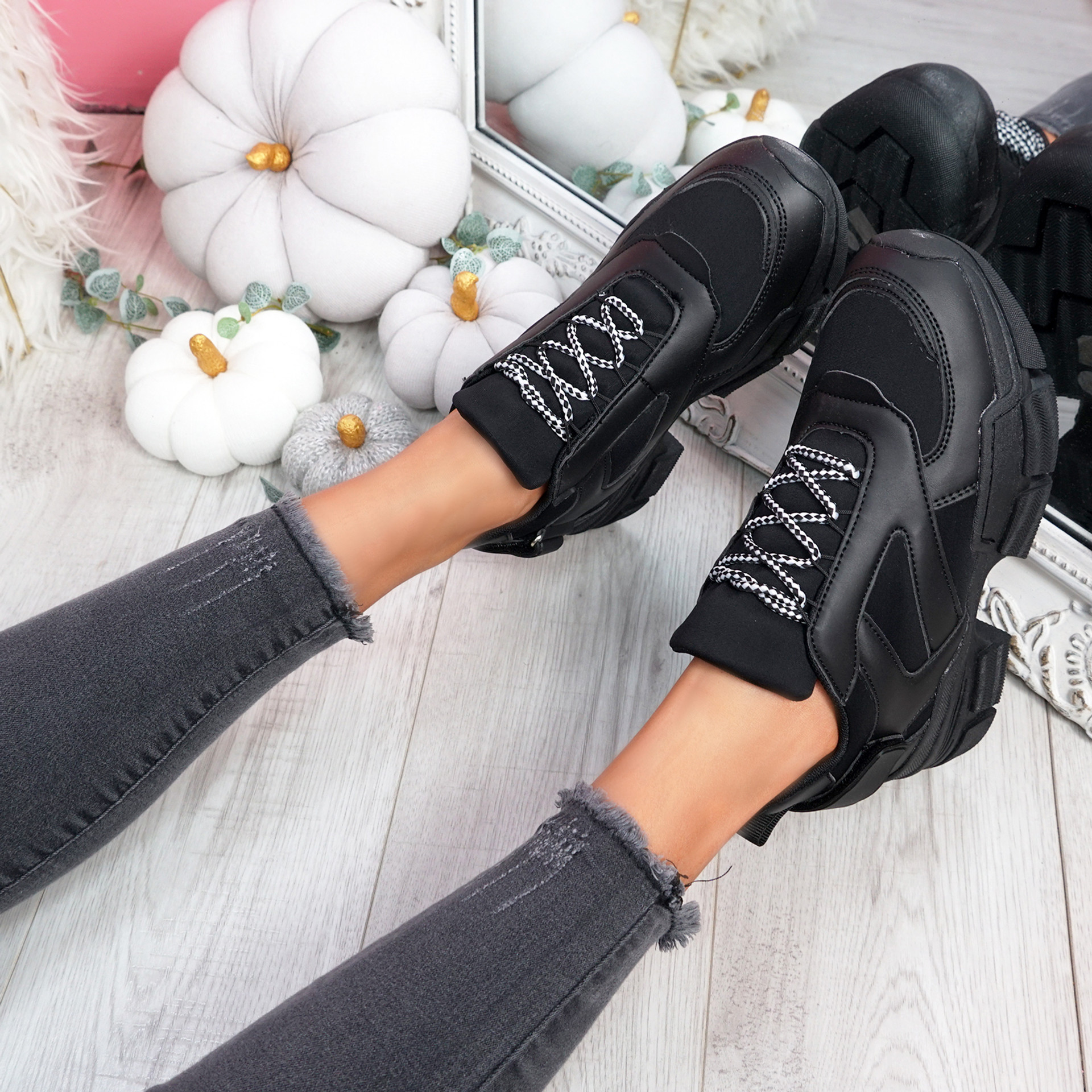 Nomy Black Chunky Trainers