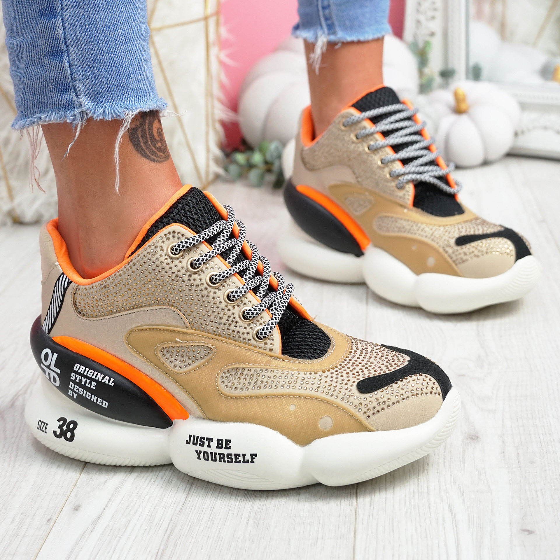Miko Beige Studded Chunky Trainers
