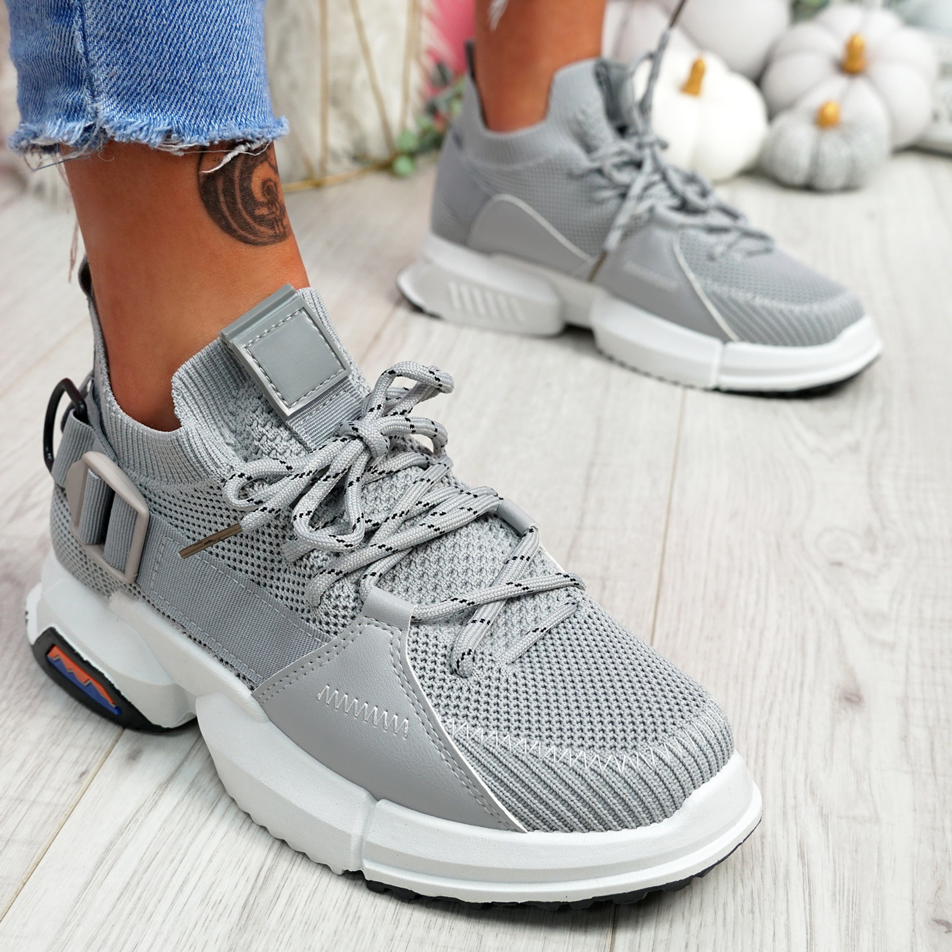 Loppo Light Grey Knit Chunky Sneakers