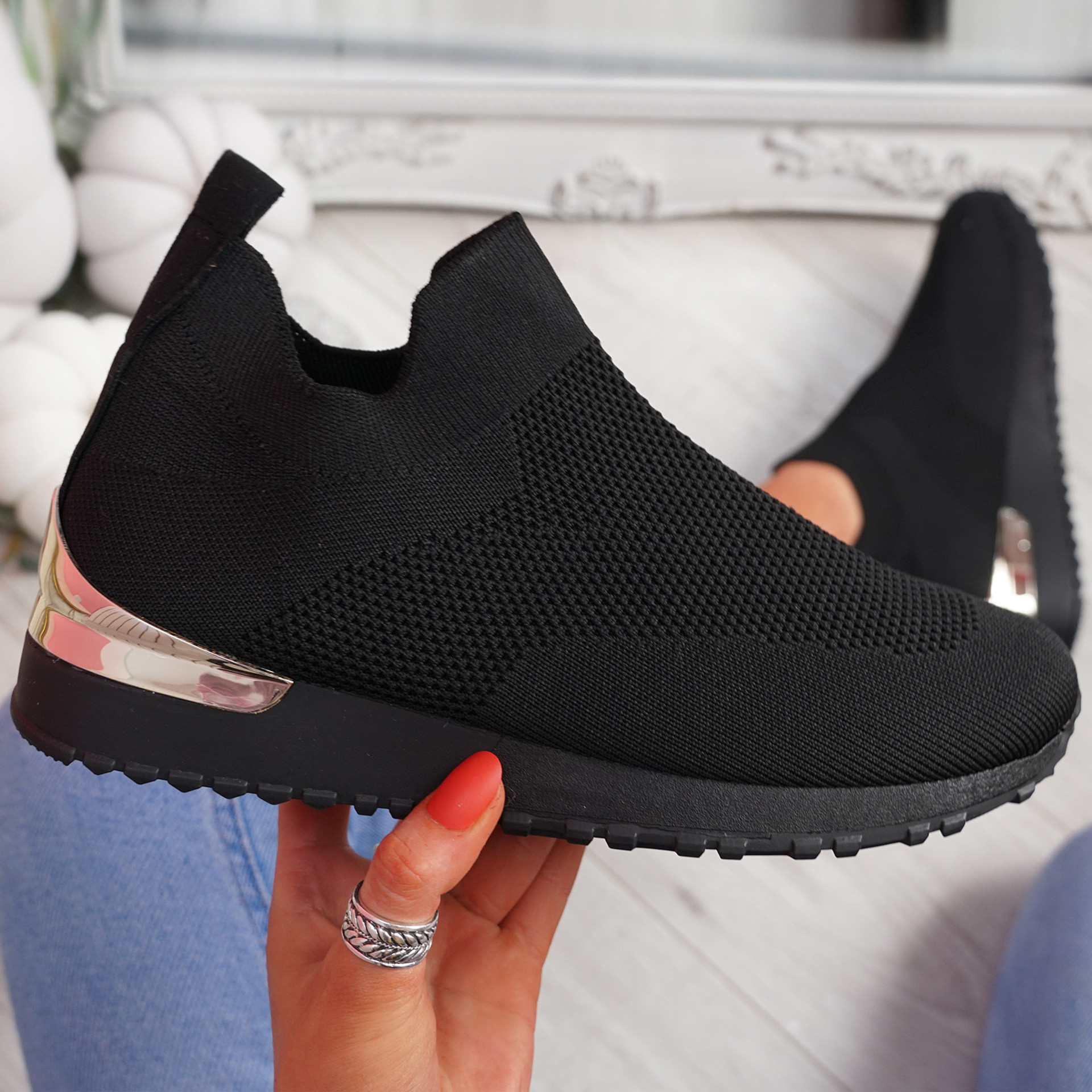 Ritty All Black Knit Sport Trainers