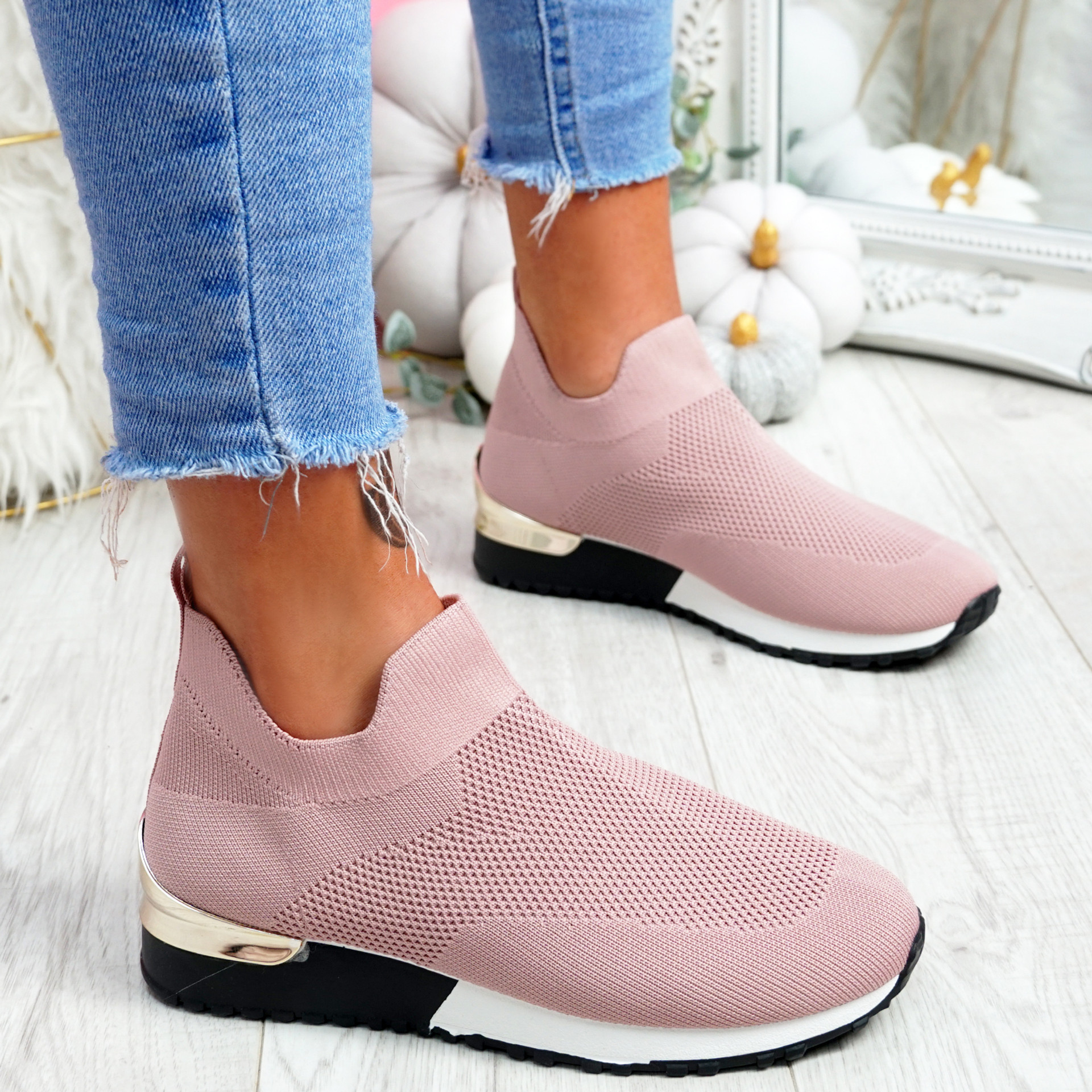 Ritty Pink Knit Sport Trainers