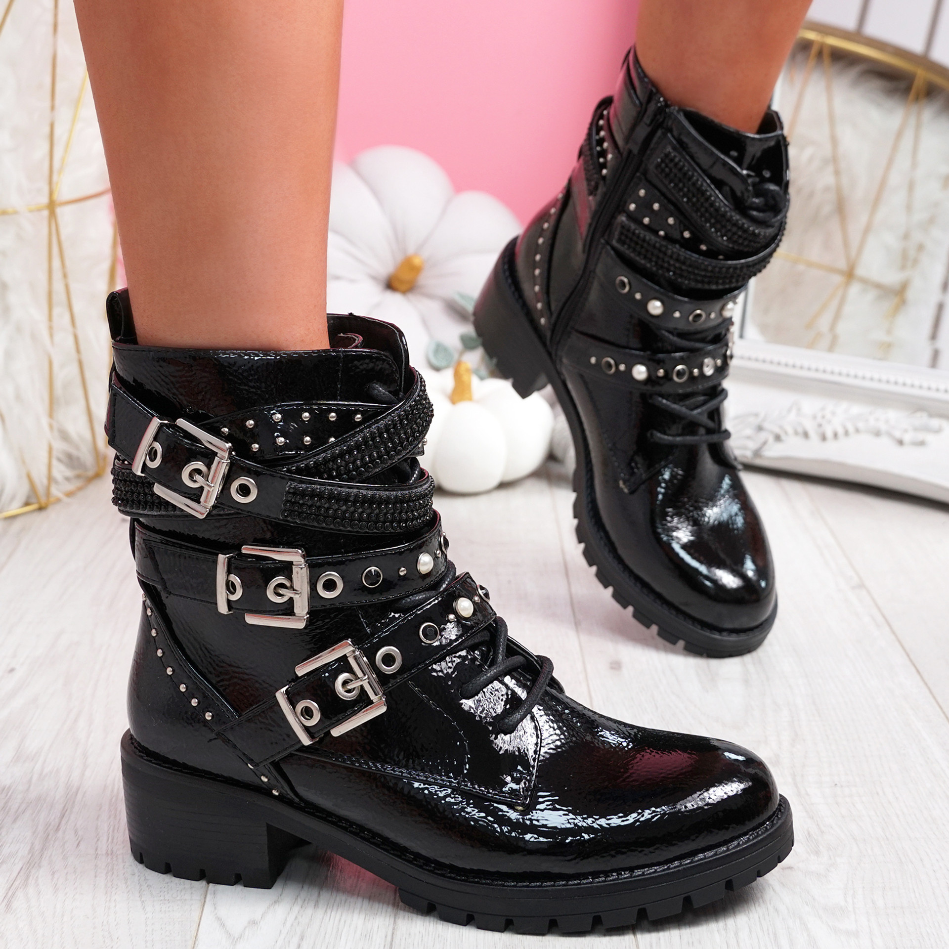 Lobbe Black Patent Ankle Boots