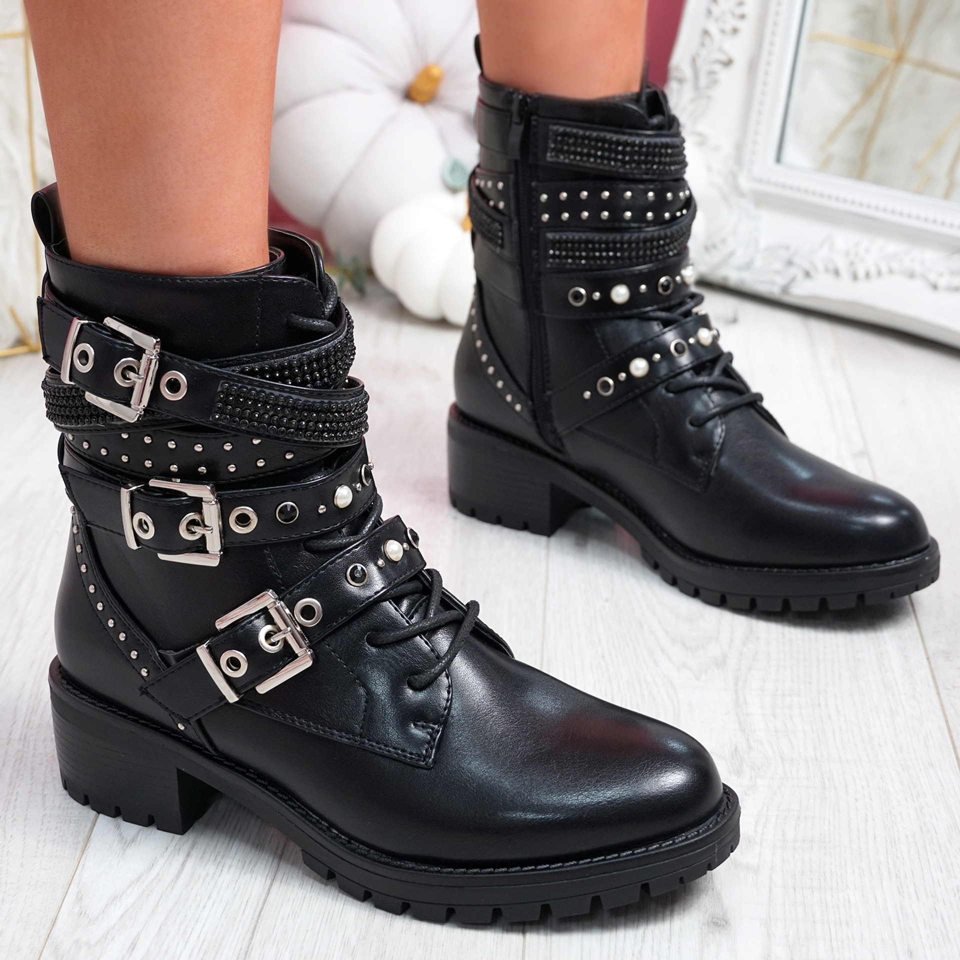 Lobbe Black Pu Ankle Boots