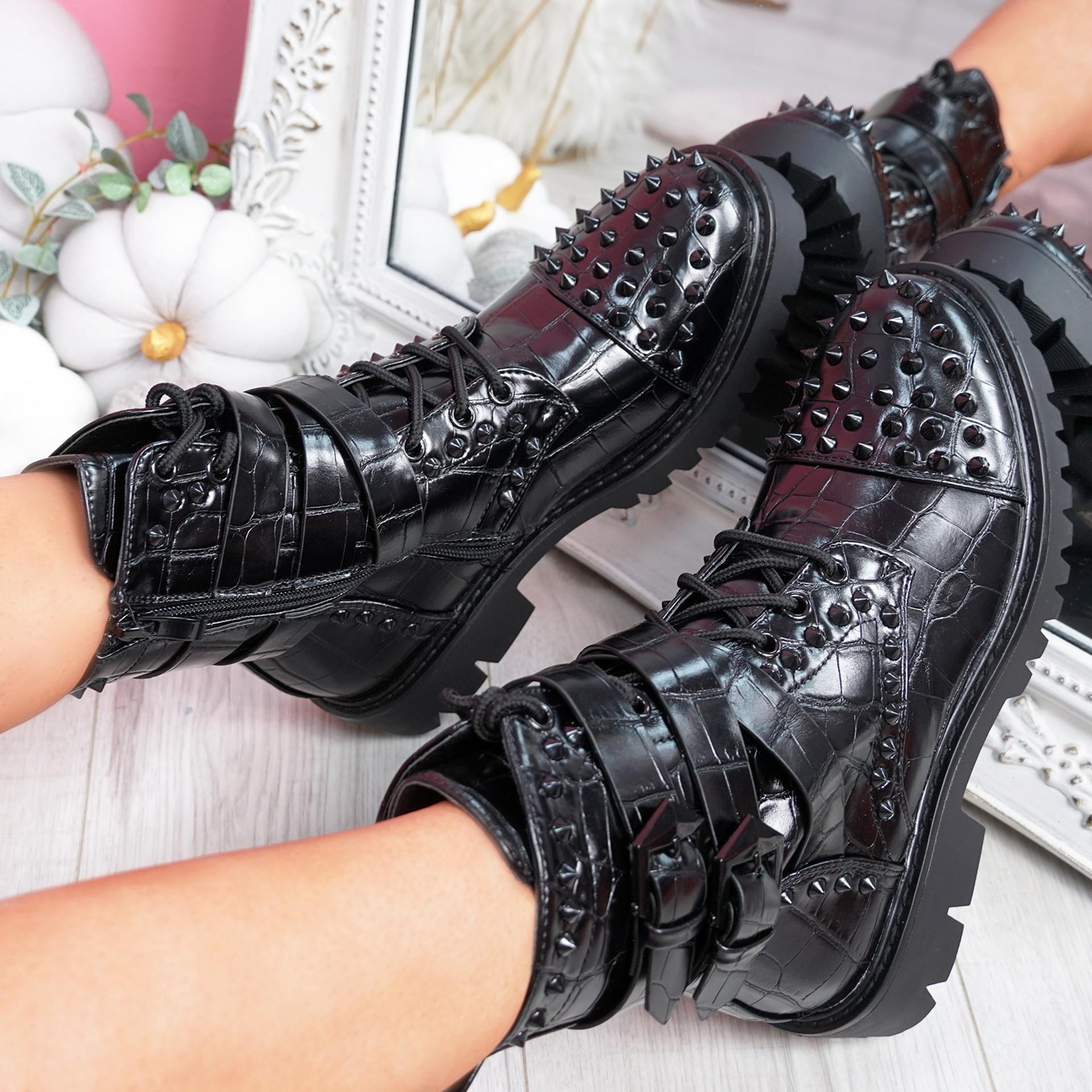 Nizzy Black Biker Studded Ankle Boots
