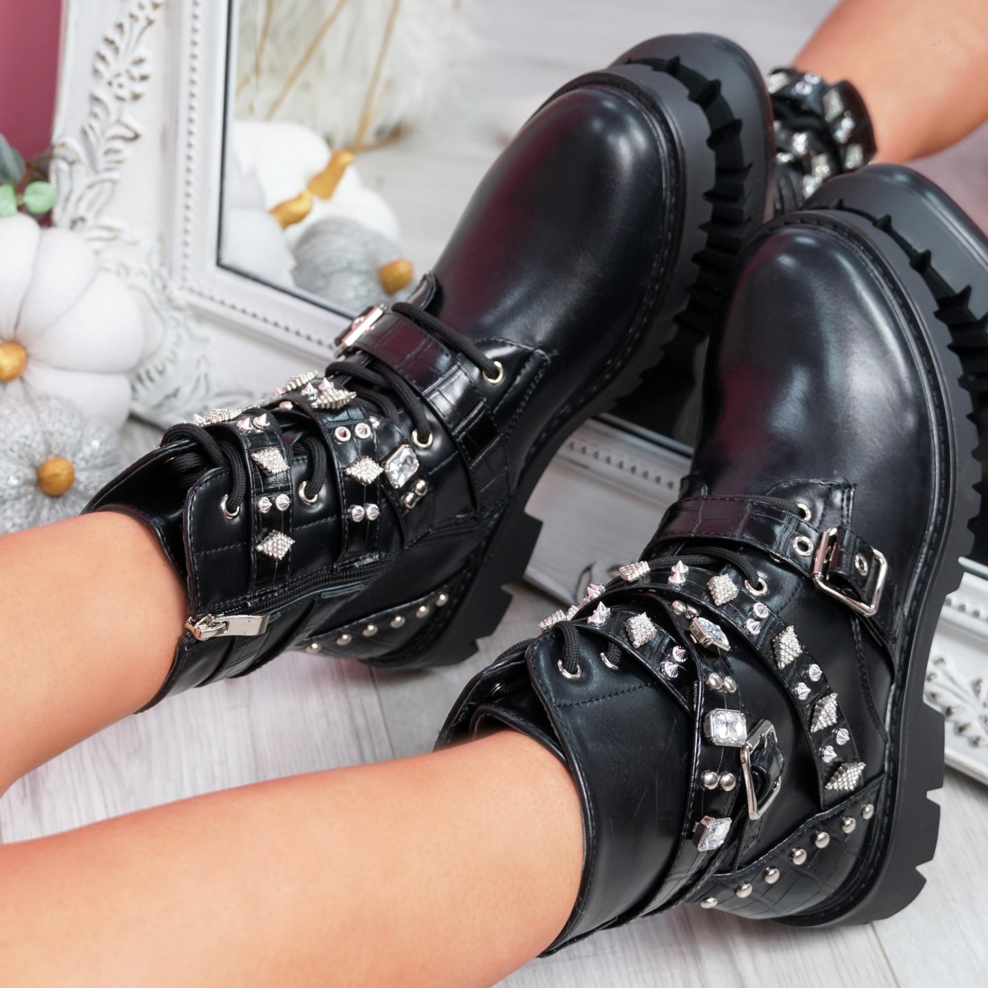 Zegga Black Studded Ankle Boots